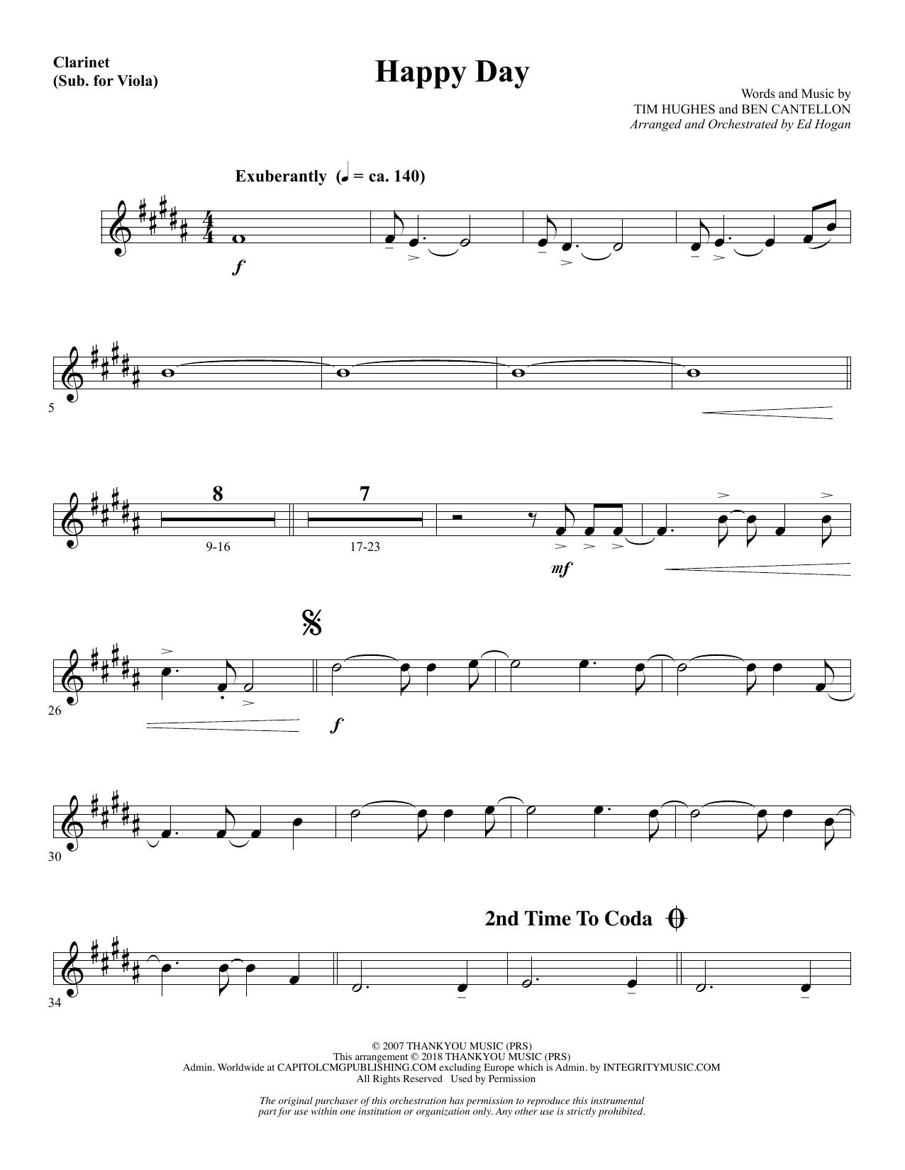 Happy Day (arr. Ed Hogan) - Clarinet (sub. Viola) (Choir Instrumental Pak)