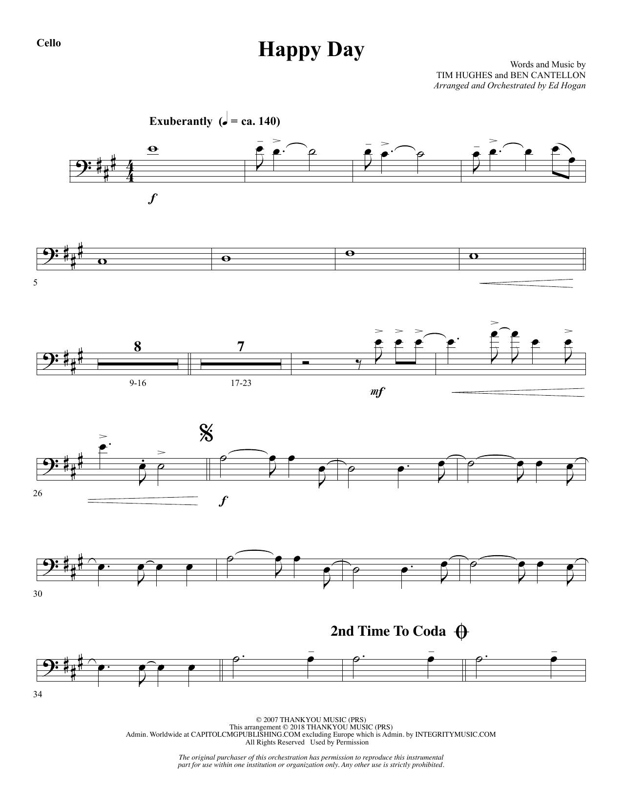 Happy Day (arr. Ed Hogan) - Cello (Choir Instrumental Pak)