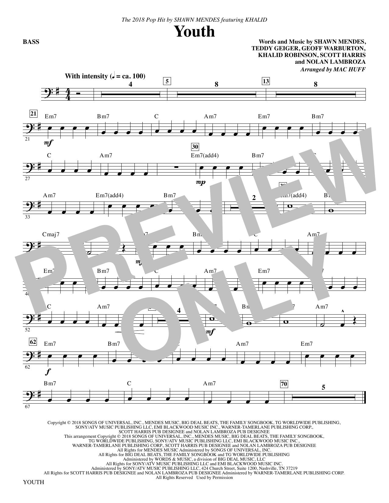 Youth (feat. Khalid) (arr. Mac Huff) - Bass (Choir Instrumental Pak)