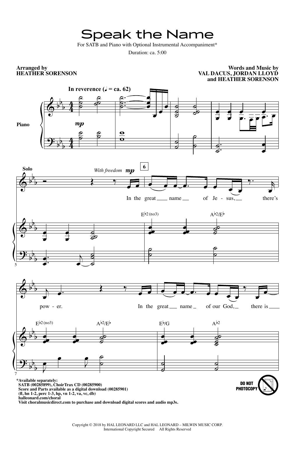 Speak The Name (SATB Choir)