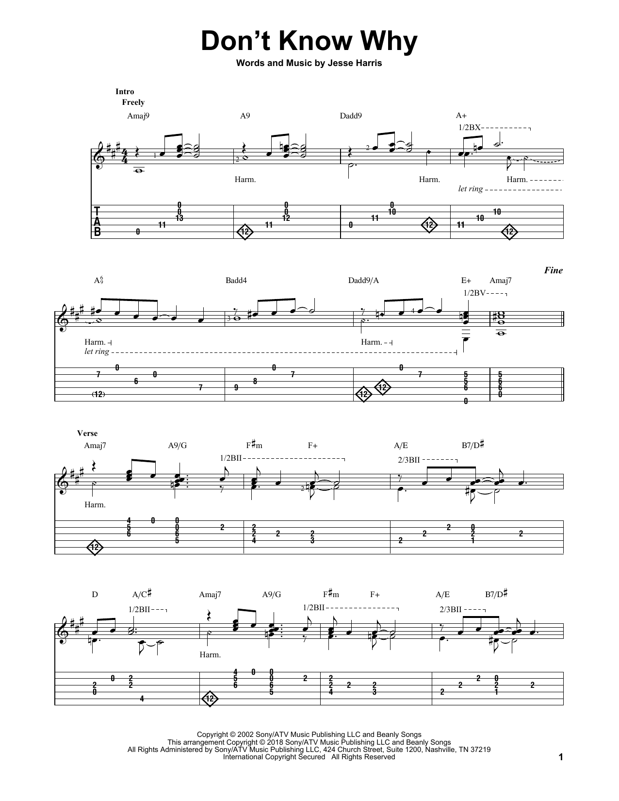 Don't Know Why (Solo Guitar Tab)