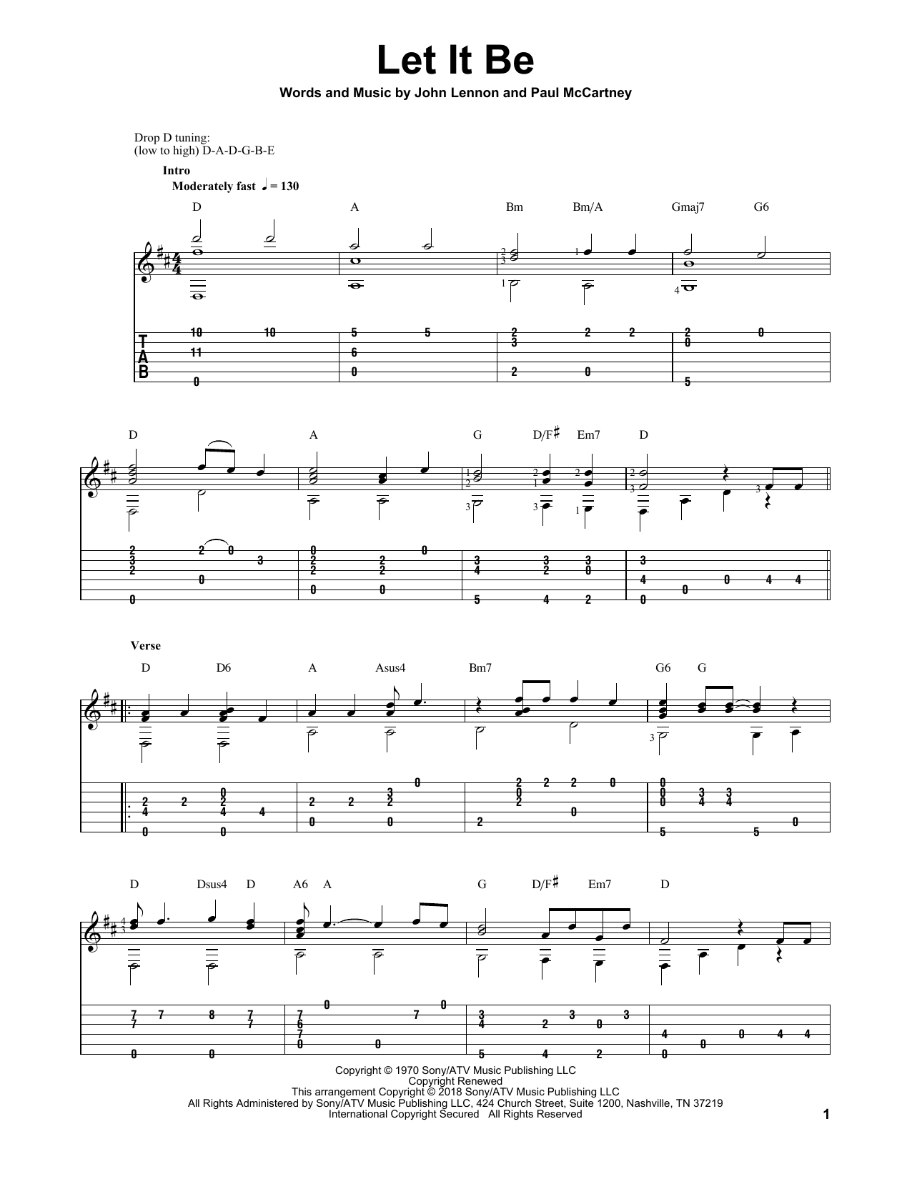 Let It Be (Solo Guitar Tab)