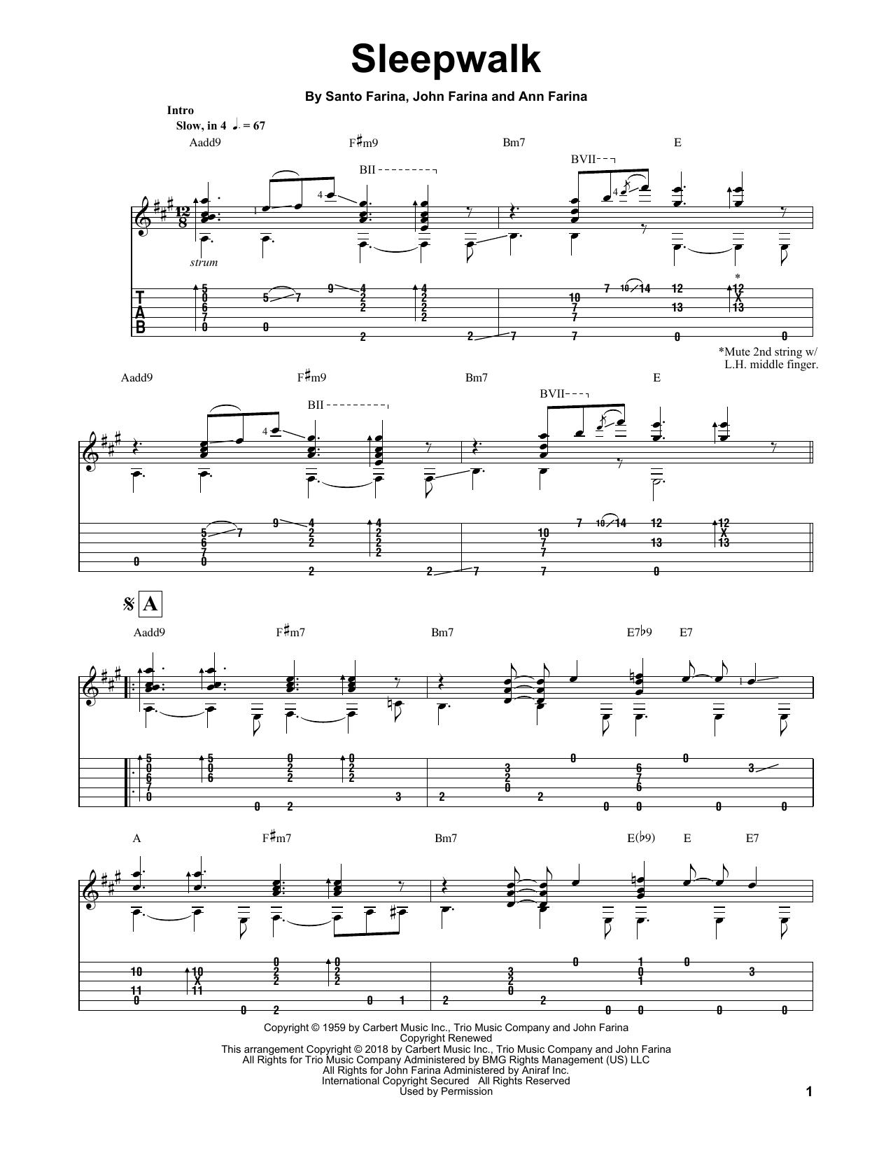 page one of Sleepwalk (Instrumental Version)ASALTTEXT
