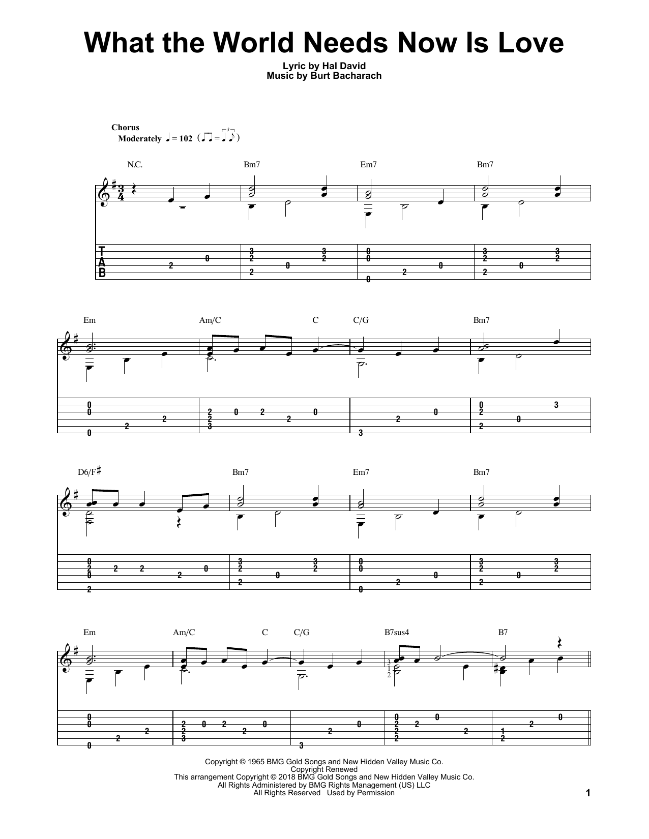 What The World Needs Now Is Love (Solo Guitar Tab)