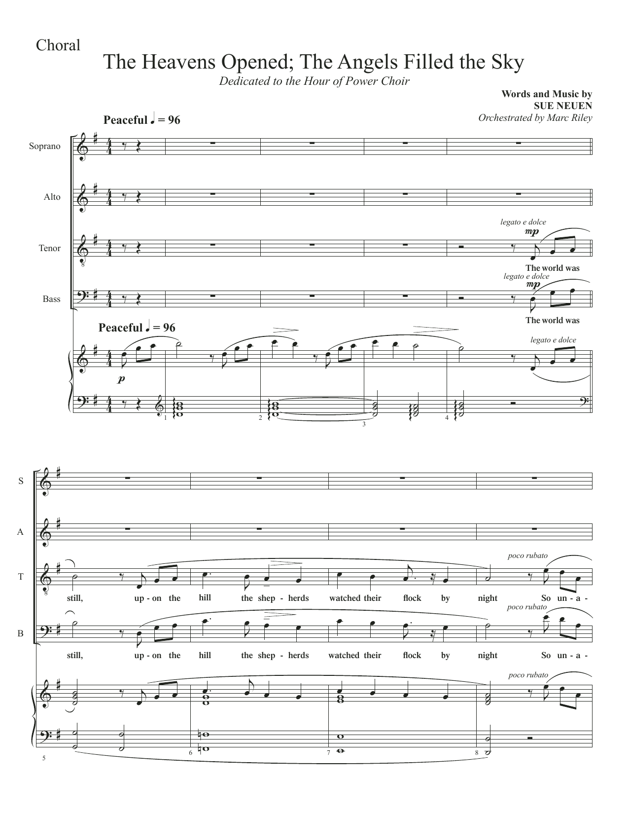 The Heavens Opened; The Angels Filled The Sky (SATB Choir)