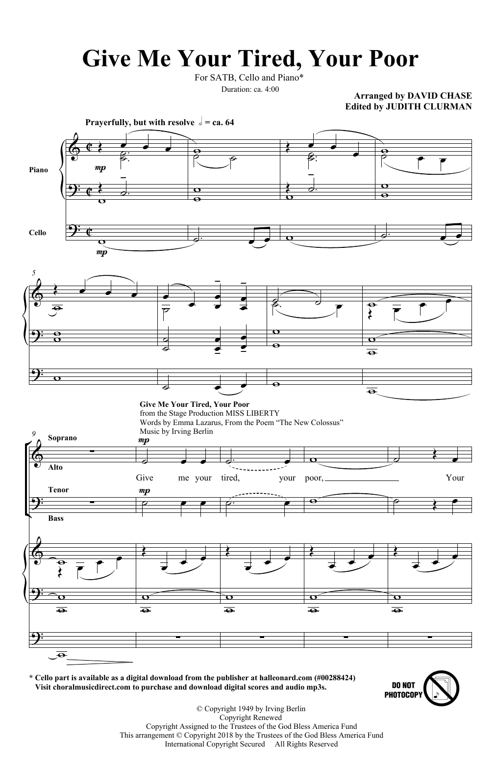 "Give Me Your Tired, Your Poor (with ""God Bless America"") (arr. David Chase) (SATB Choir)"