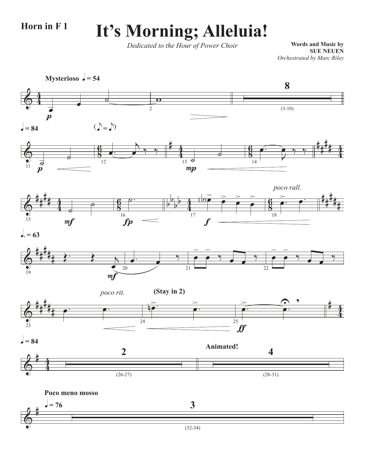 It's Morning; Alleluia! - Horn 1 in F (Choir Instrumental Pak)