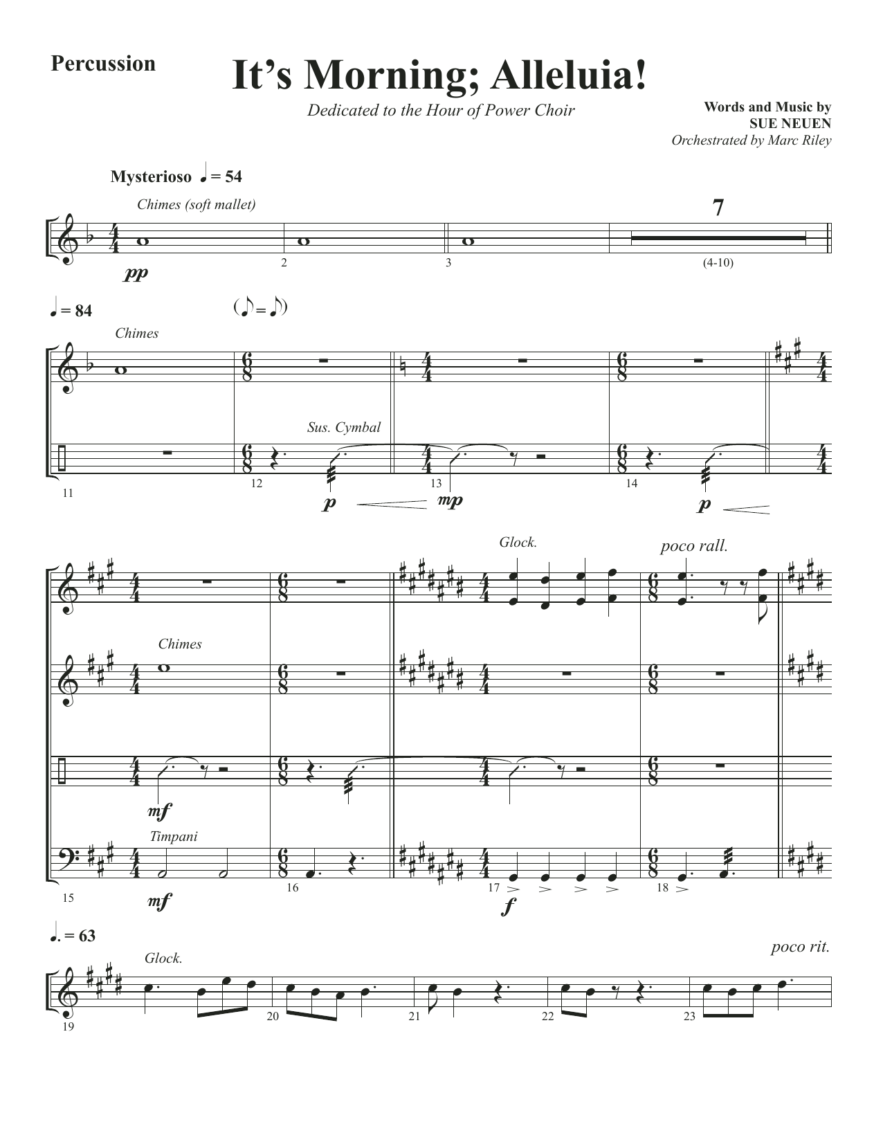 It's Morning; Alleluia! - Percussion (Choir Instrumental Pak)