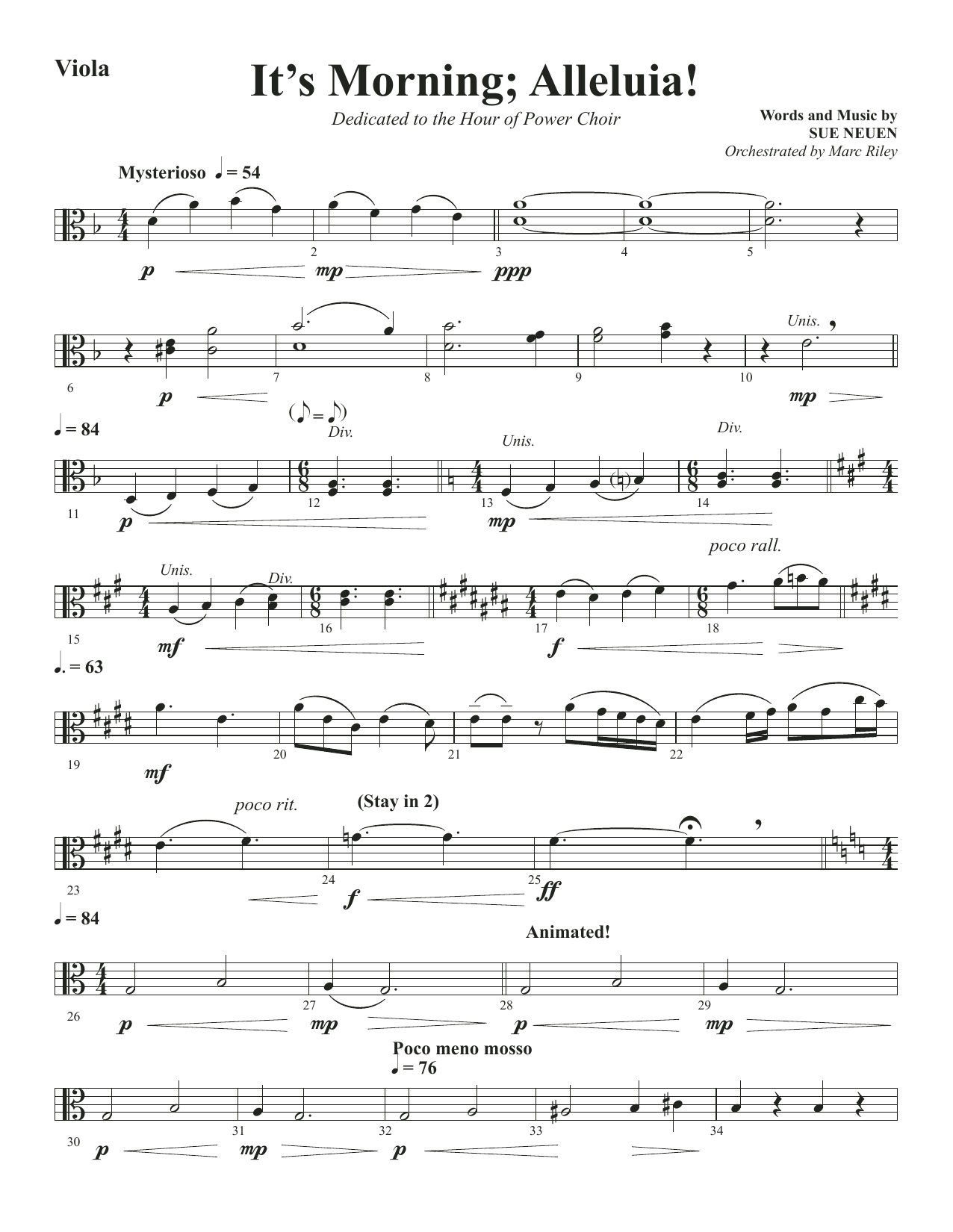 It's Morning; Alleluia! - Viola (Choir Instrumental Pak)