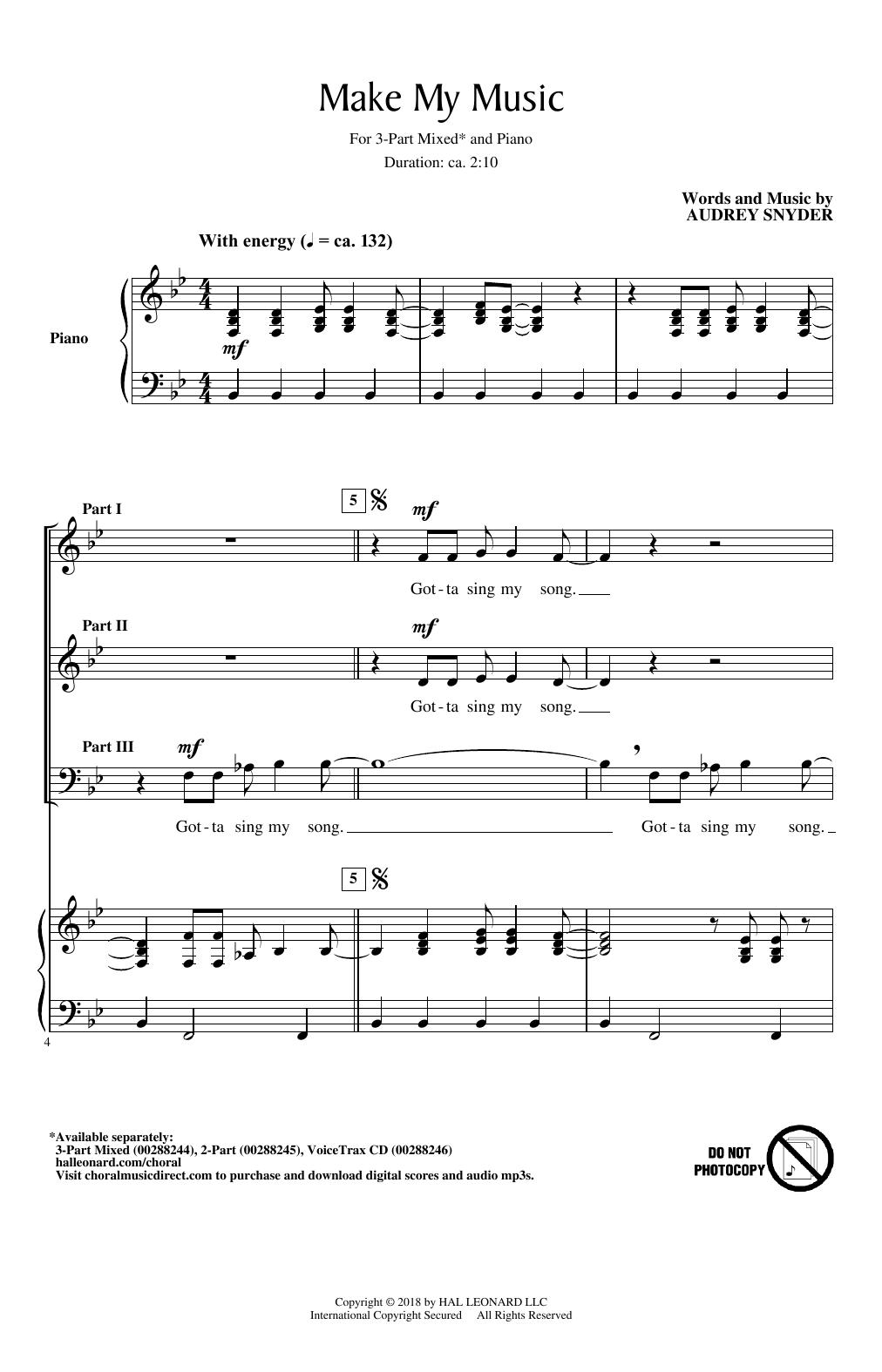 Make My Music (3-Part Mixed Choir)