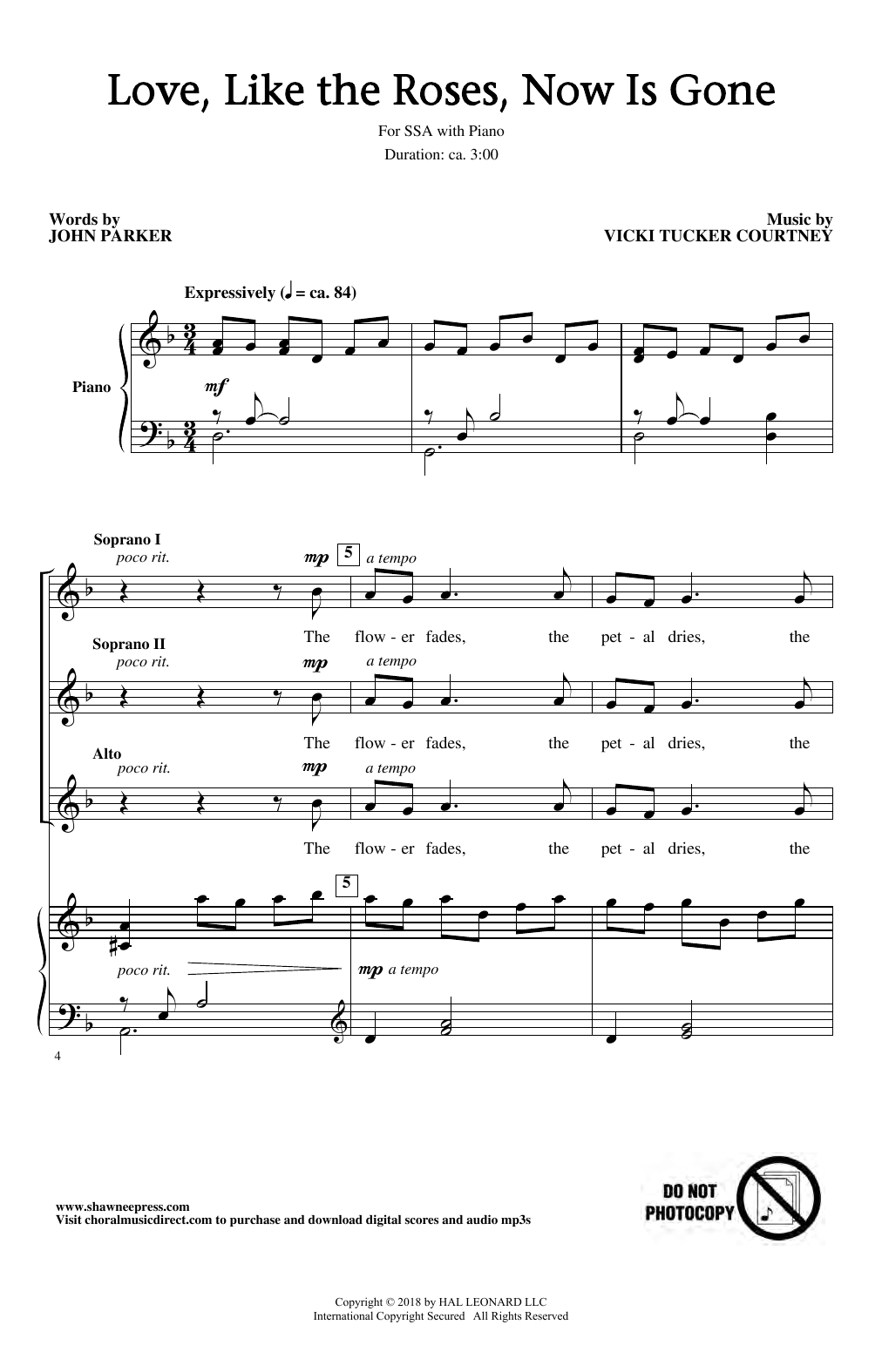 Love, Like The Roses, Now Is Gone (SSA Choir)