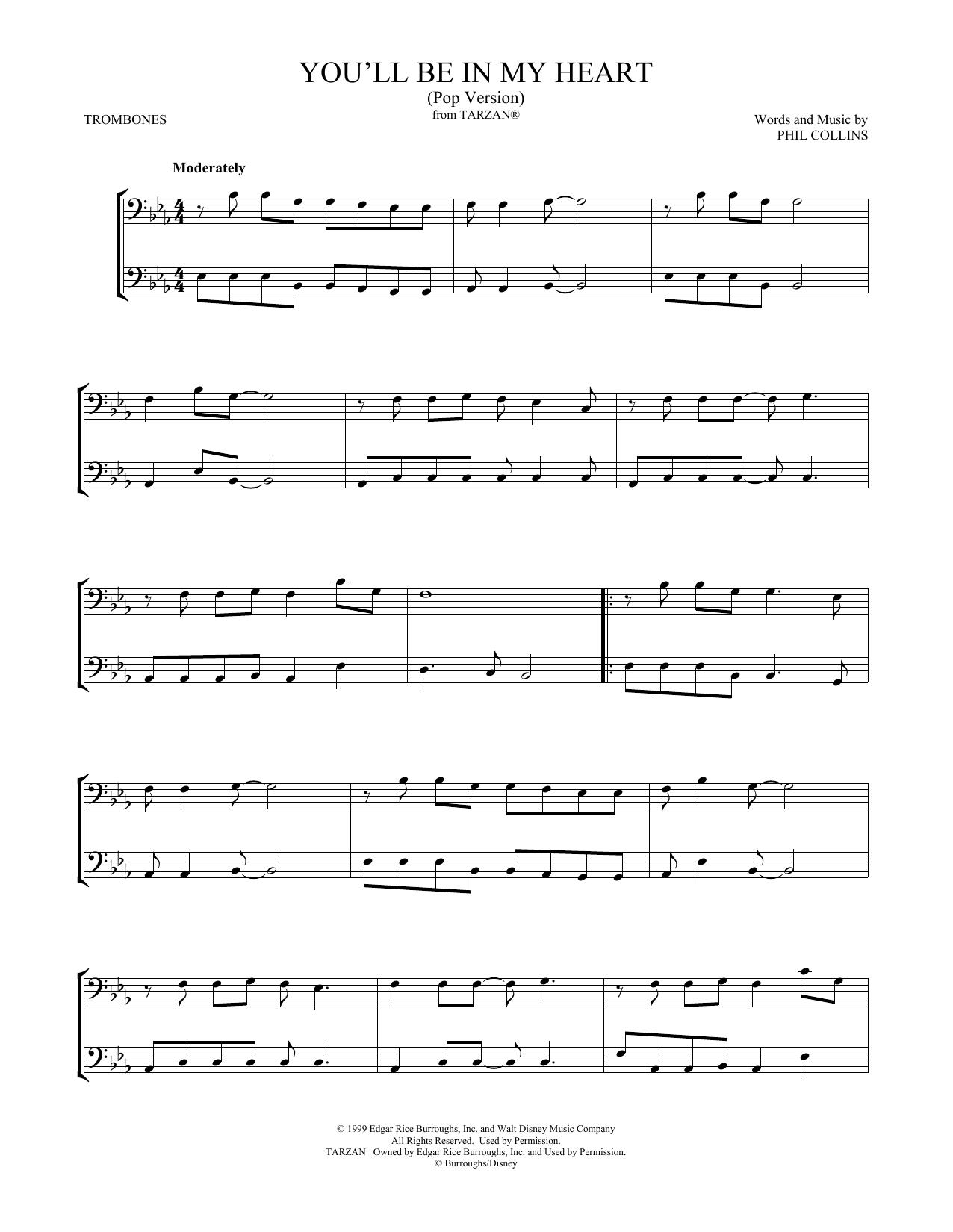 You'll Be In My Heart (Pop Version) (from Tarzan) (arr. Mark Phillips) (Trombone Duet)