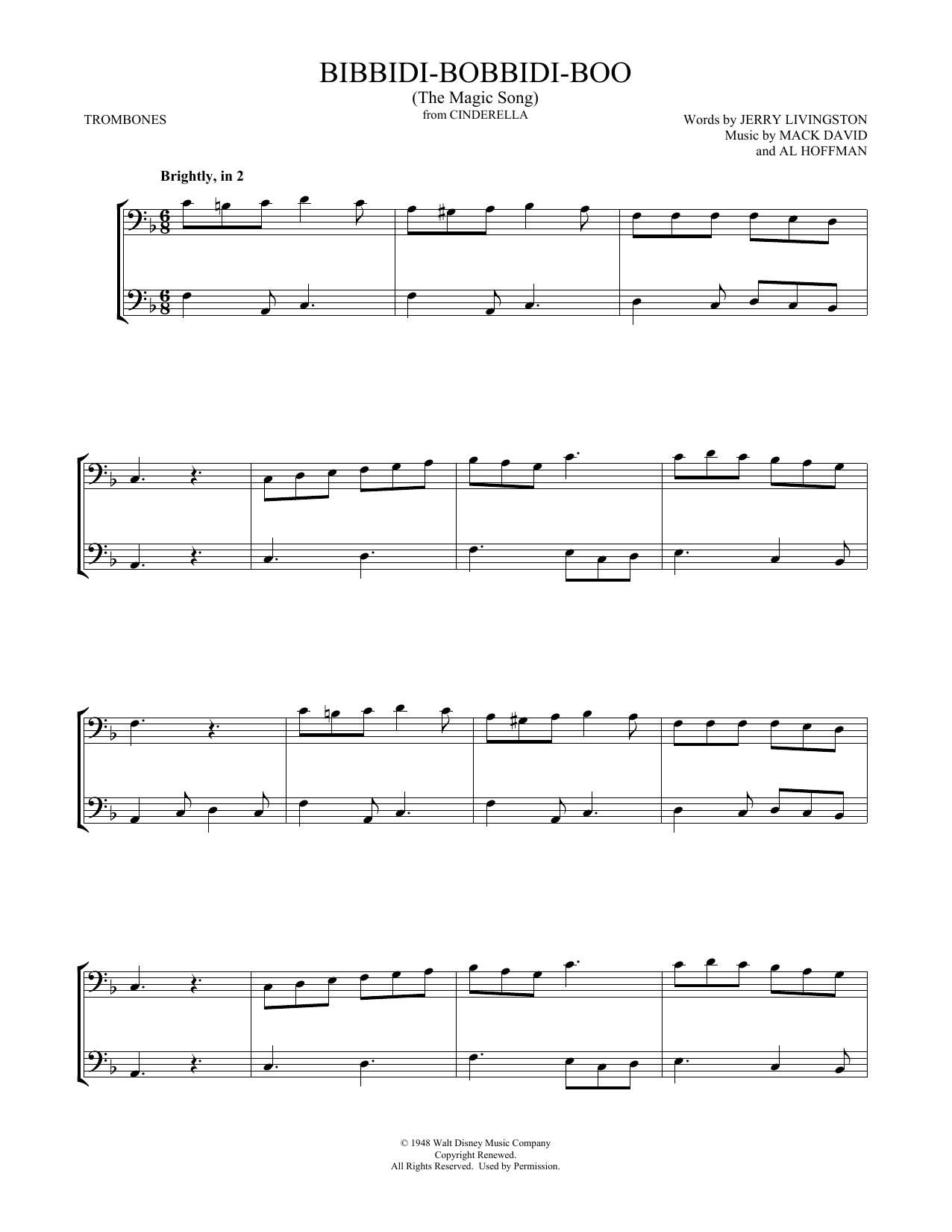 Bibbidi-Bobbidi-Boo (The Magic Song) (from Cinderella) (Trombone Duet)