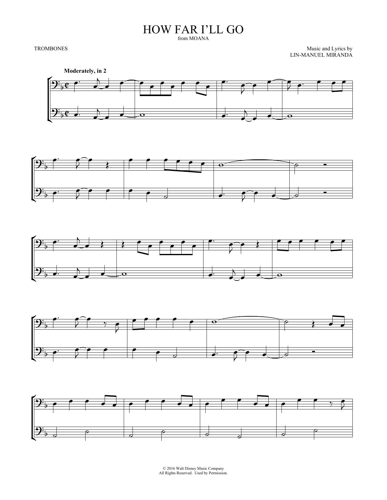 How Far I'll Go (from Moana) (arr. Mark Phillips) (Trombone Duet)
