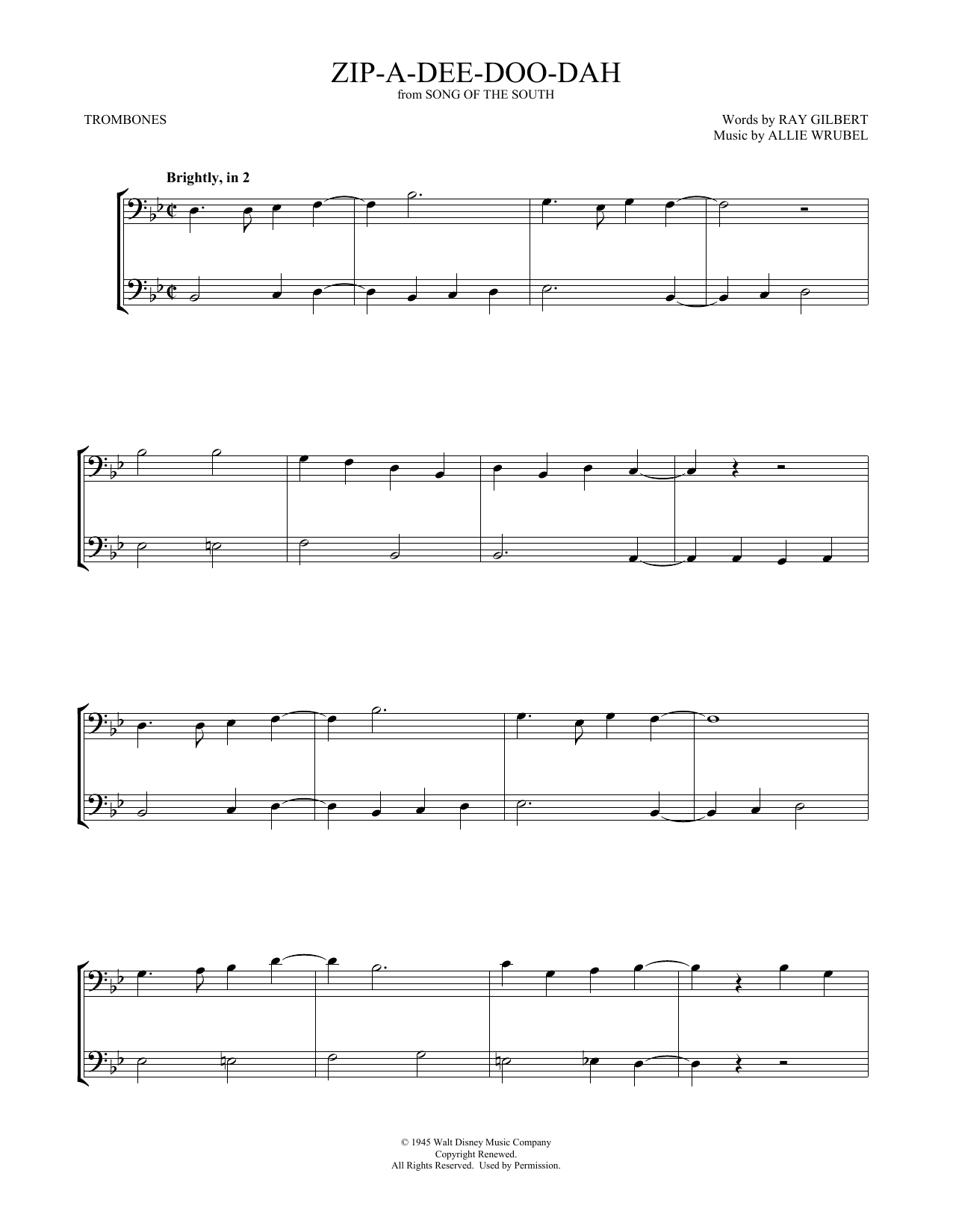 Zip-A-Dee-Doo-Dah (Trombone Duet)