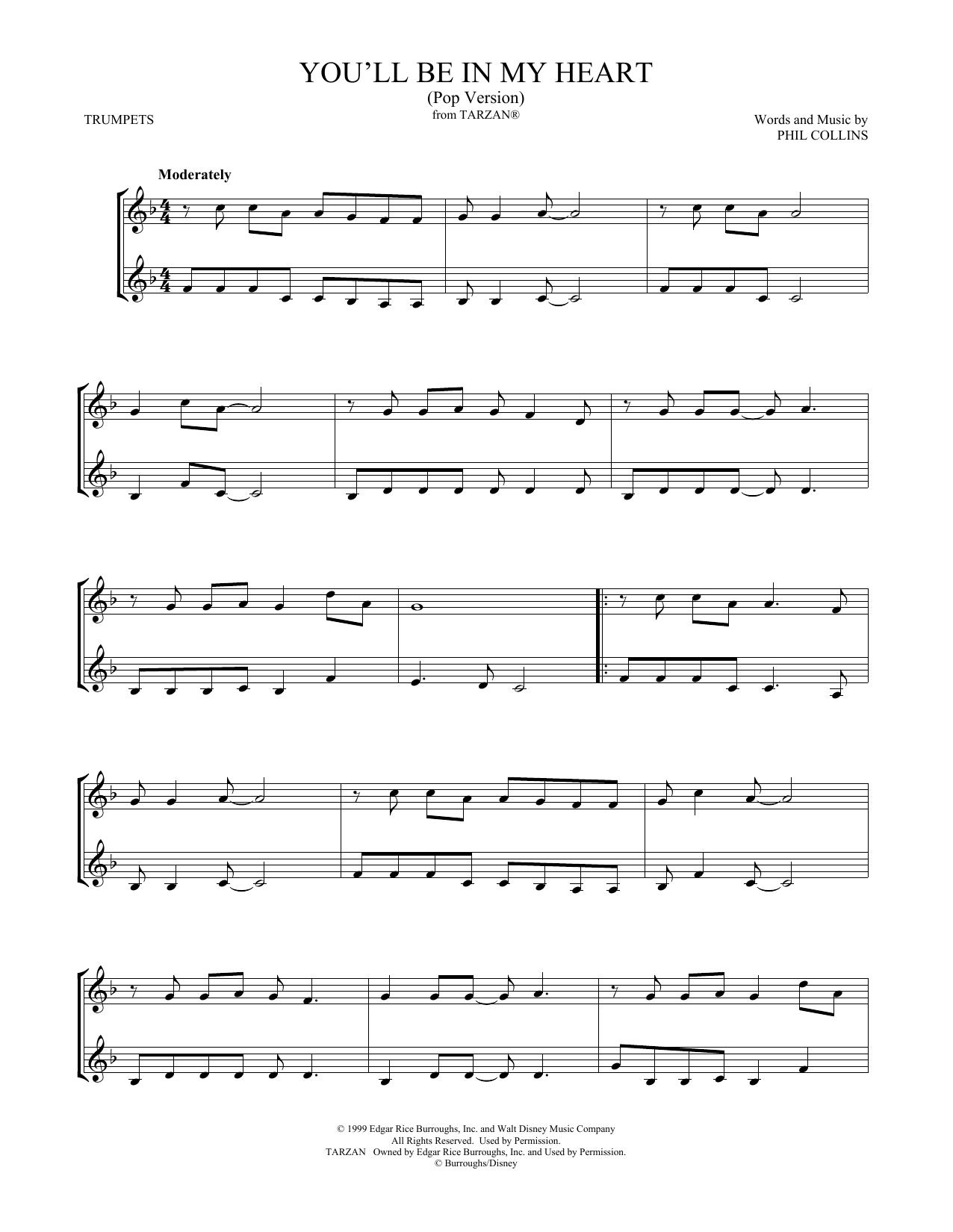 You'll Be In My Heart (Pop Version) (from Tarzan) (arr. Mark Phillips) (Trumpet Duet)