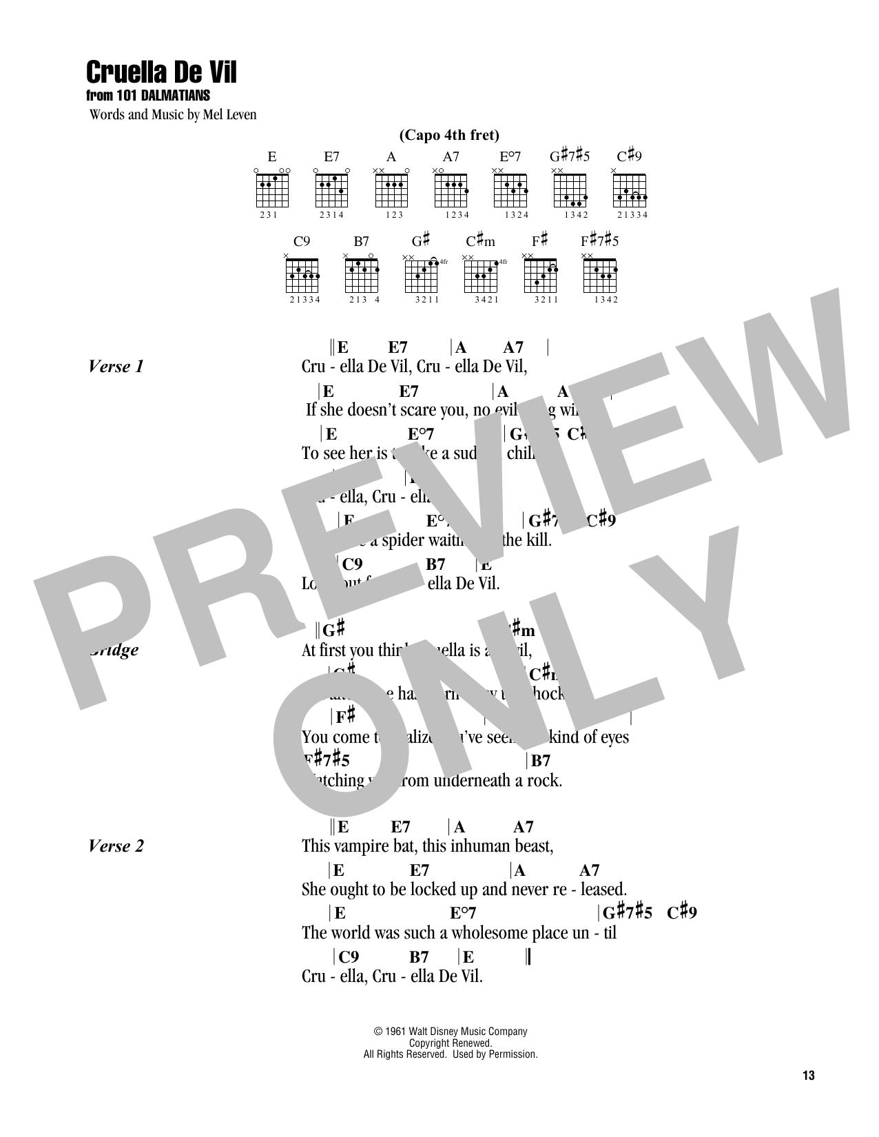 Cruella De Vil (from 101 Dalmatians) (Guitar Chords/Lyrics)