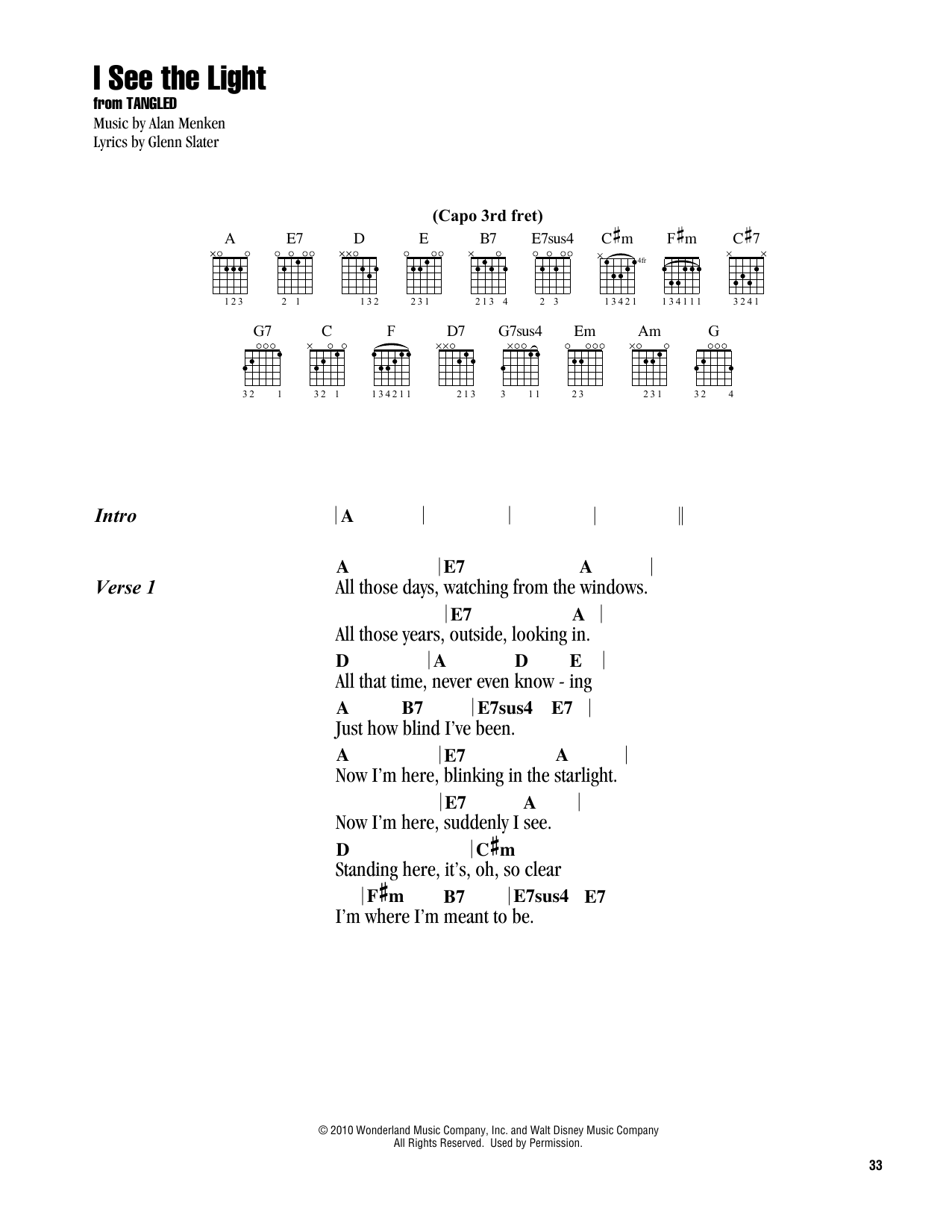 I See The Light (from Disney's Tangled) (Guitar Chords/Lyrics)