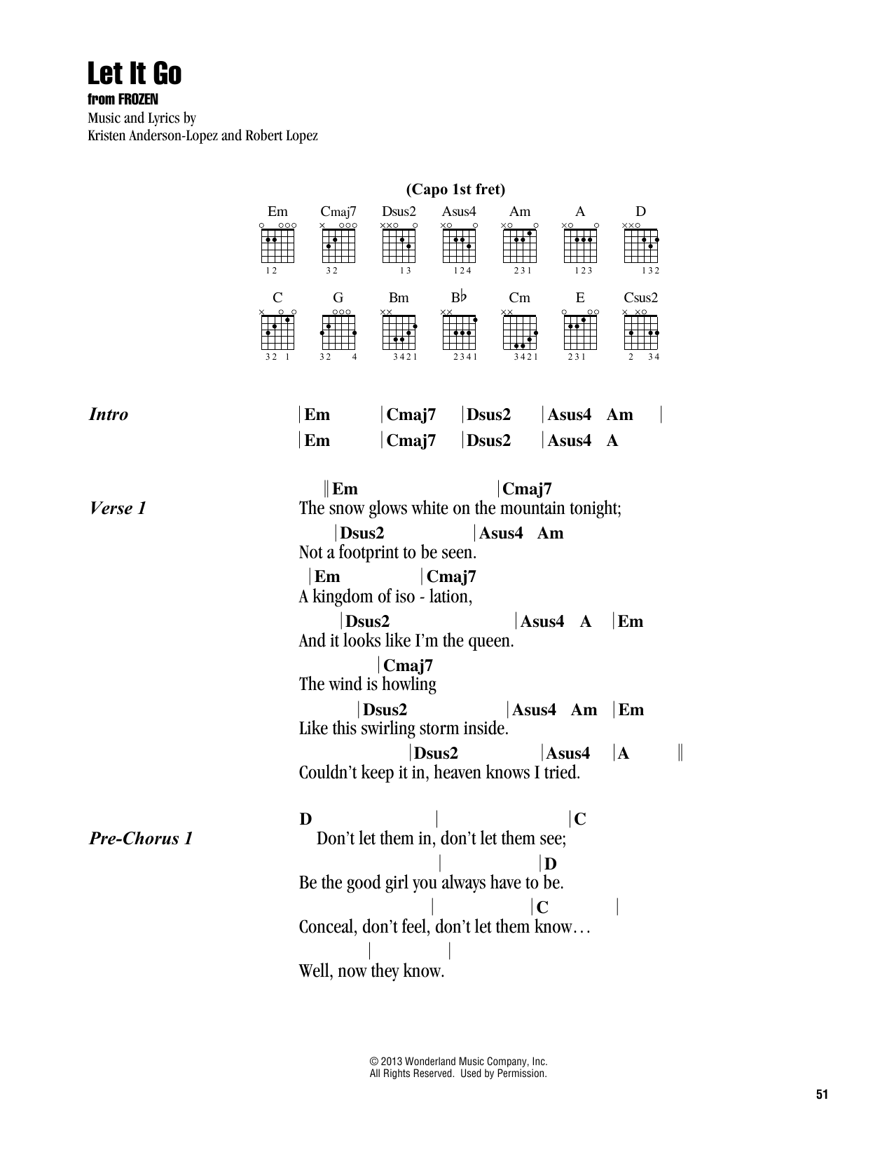 Let It Go from Frozen Guitar Chords/Lyrics   Print Sheet Music Now