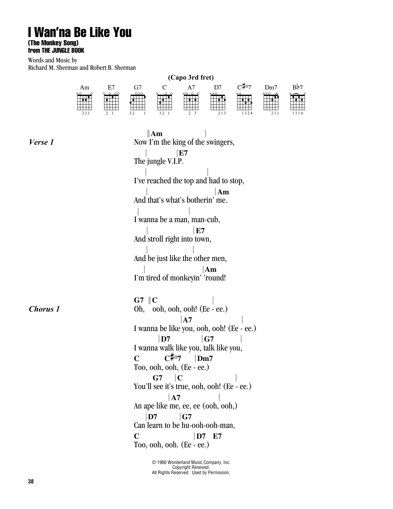 I Wan'na Be Like You (The Monkey Song) (from The Jungle Book) (Guitar Chords/Lyrics)