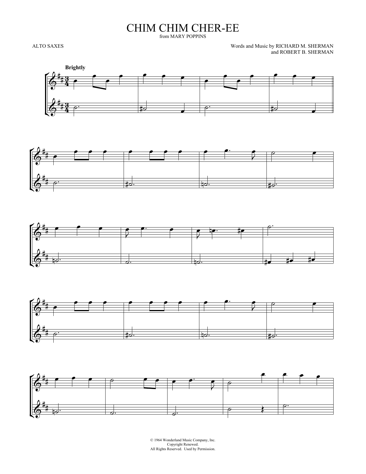 Chim Chim Cher-ee (from Mary Poppins) (Alto Sax Duet)