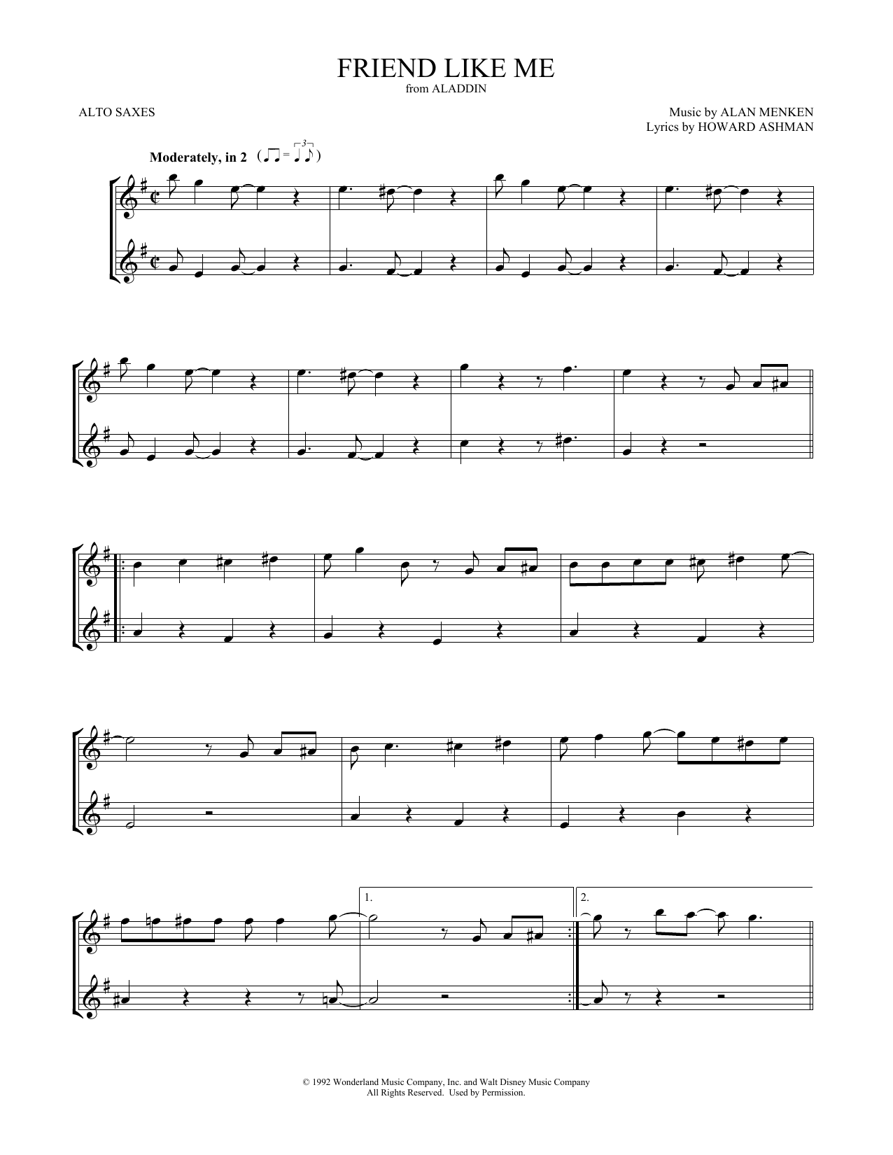 Friend Like Me (from Aladdin) (Alto Sax Duet)