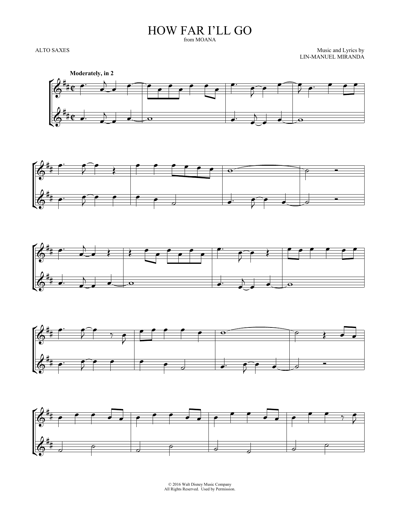 How Far I'll Go (from Moana) (Alto Sax Duet)