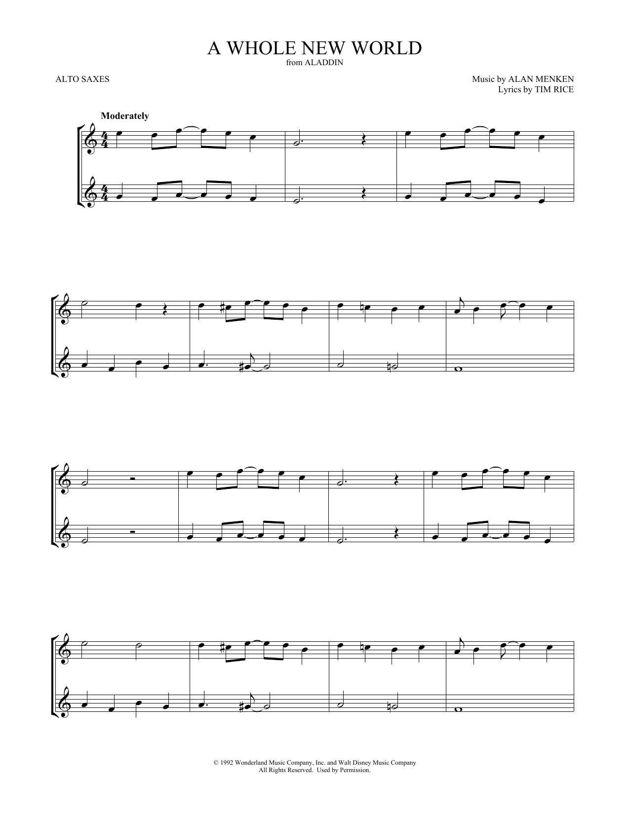 A Whole New World (from Aladdin) (Alto Sax Duet)