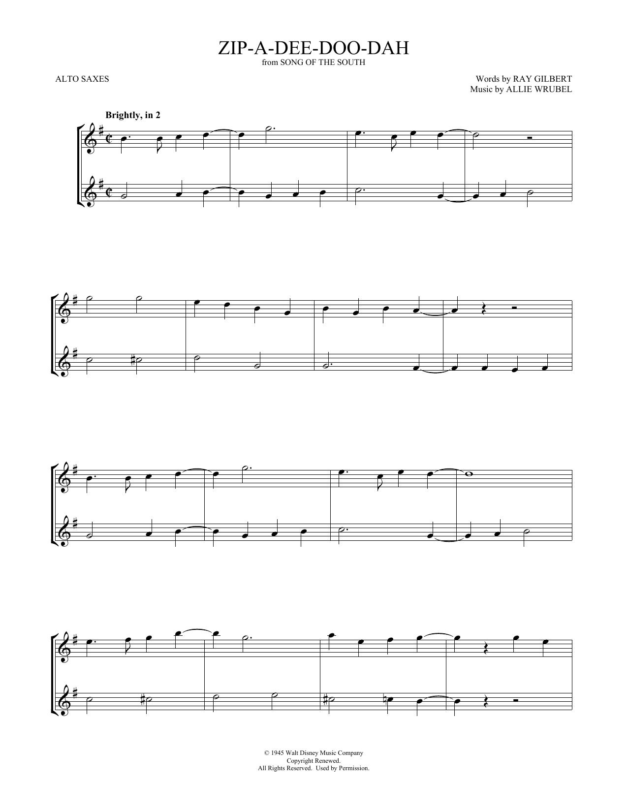 Zip-A-Dee-Doo-Dah (Alto Sax Duet)