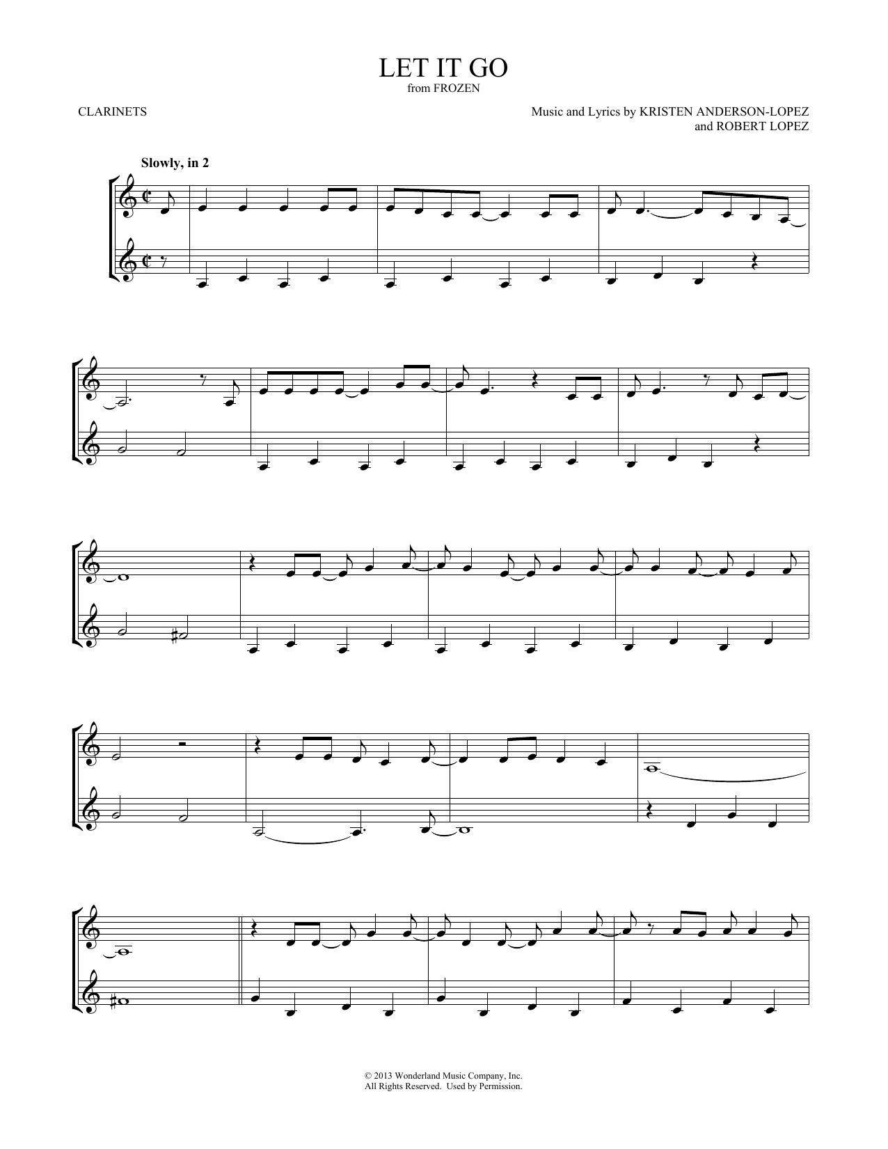 Let It Go (from Frozen) (Clarinet Duet)