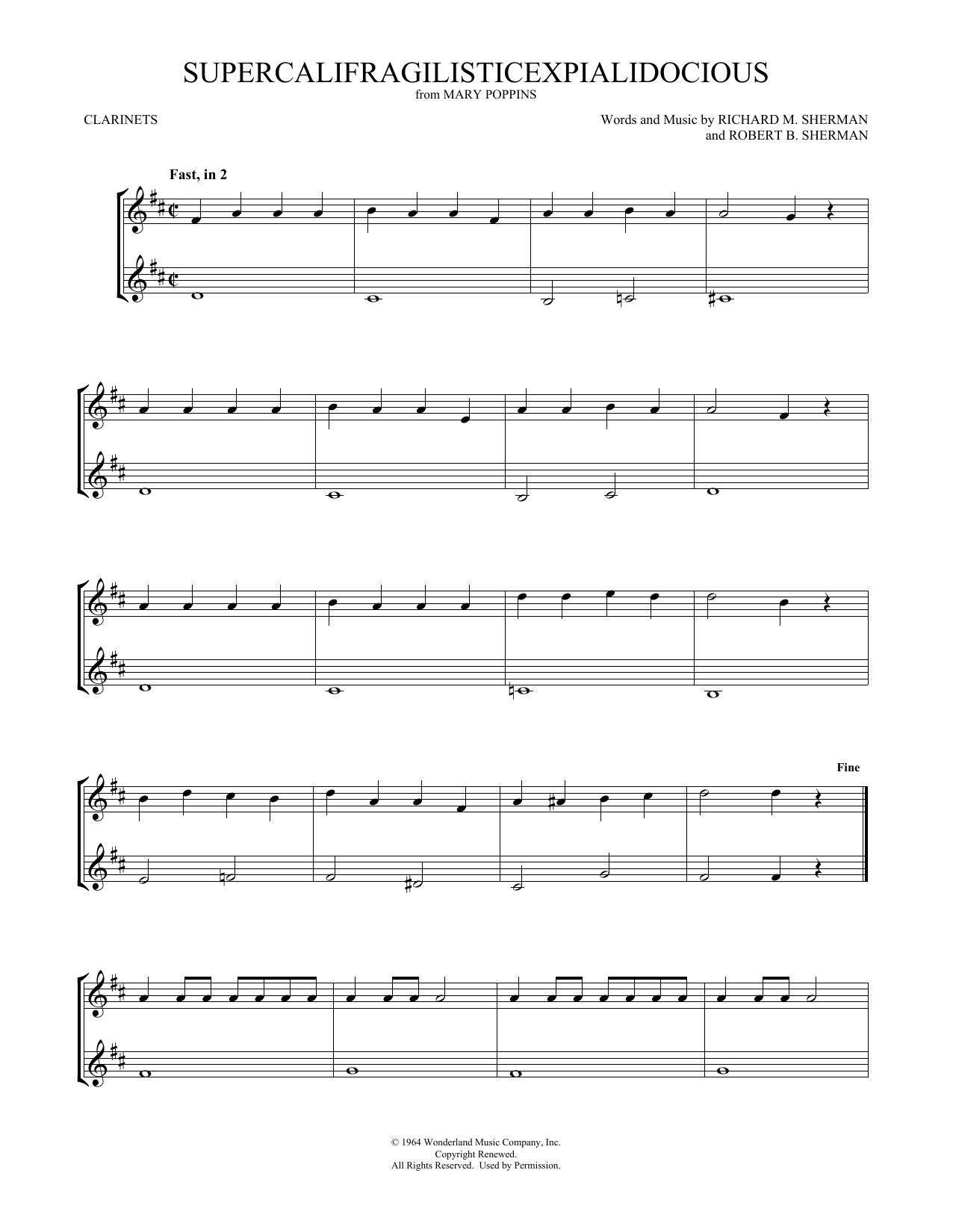 Supercalifragilisticexpialidocious (from Mary Poppins) (arr. Mark Phillips) (Clarinet Duet)