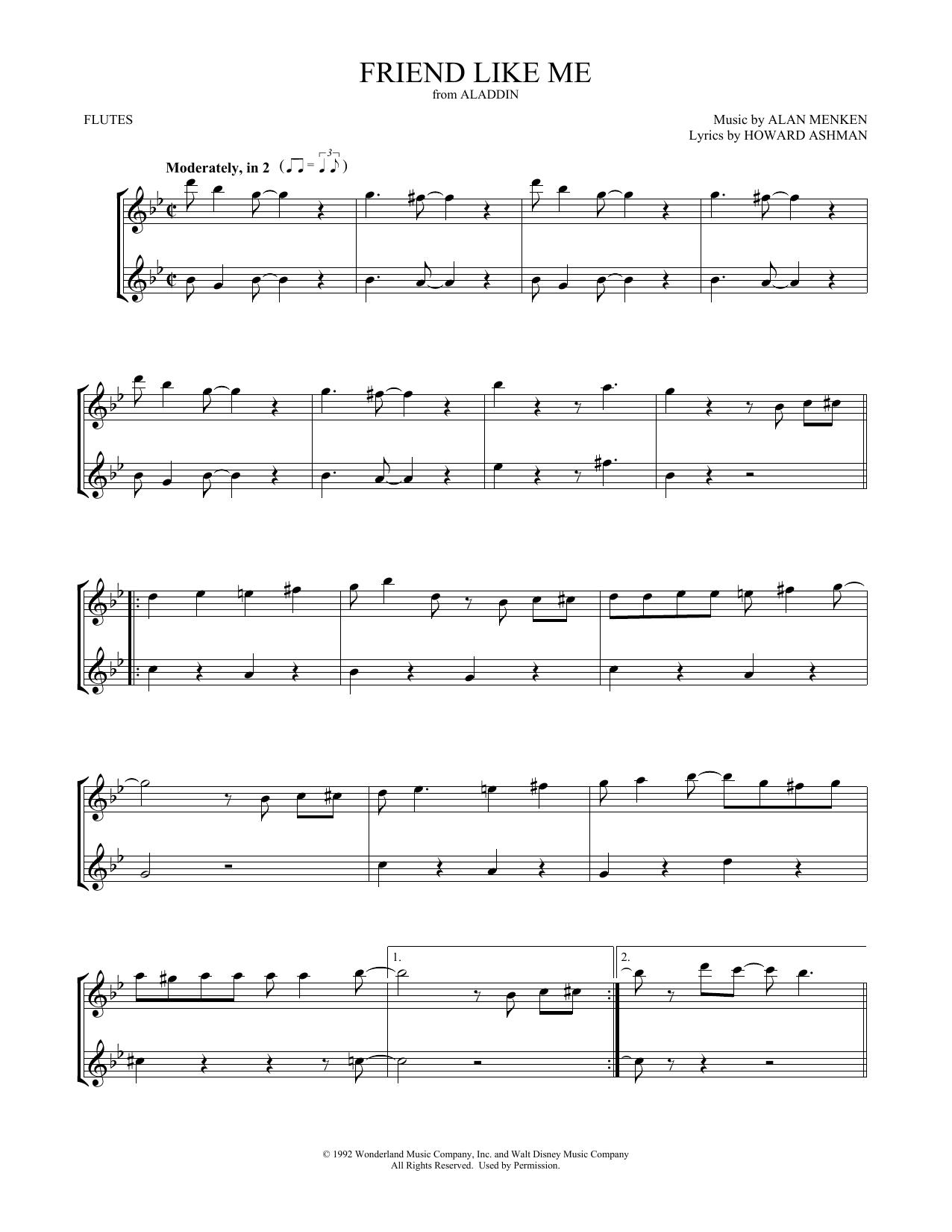 Friend Like Me (from Aladdin) (Flute Duet)