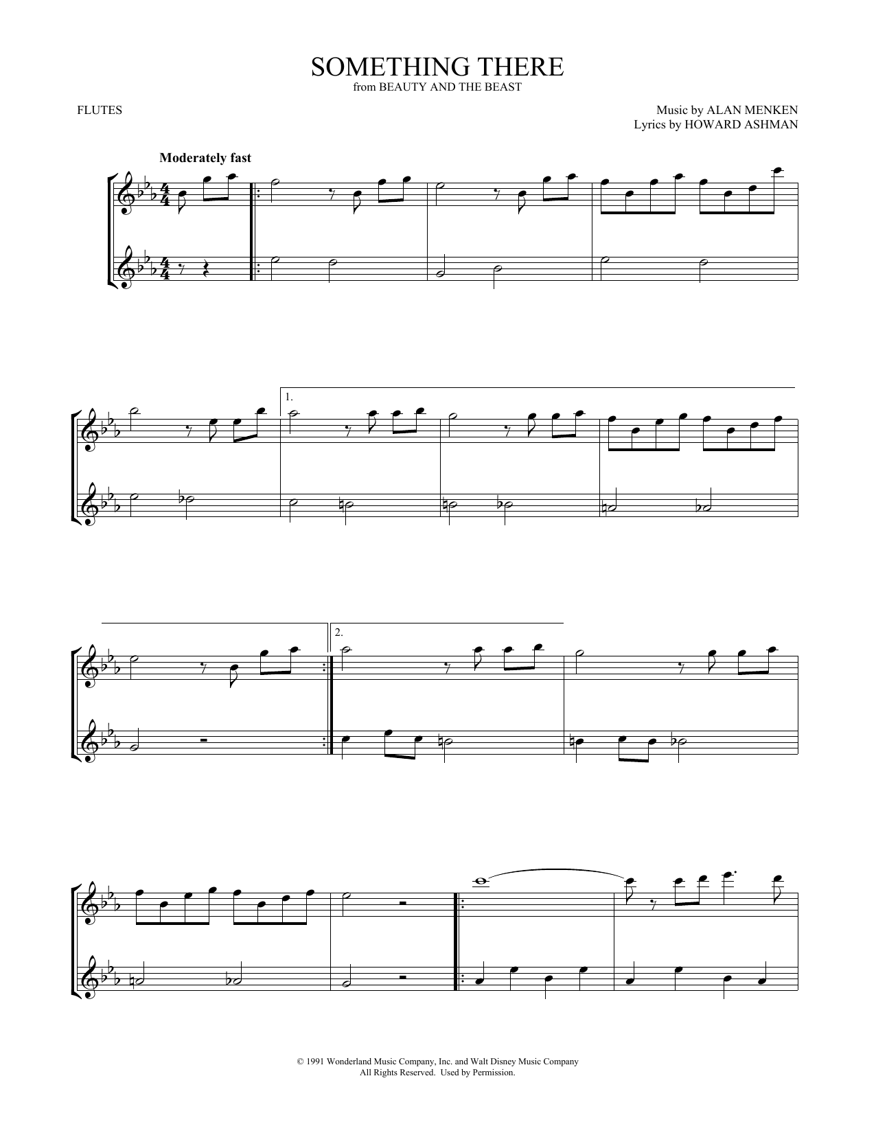Something There (from Beauty and the Beast) (arr. Mark Phillips) (Flute Duet)