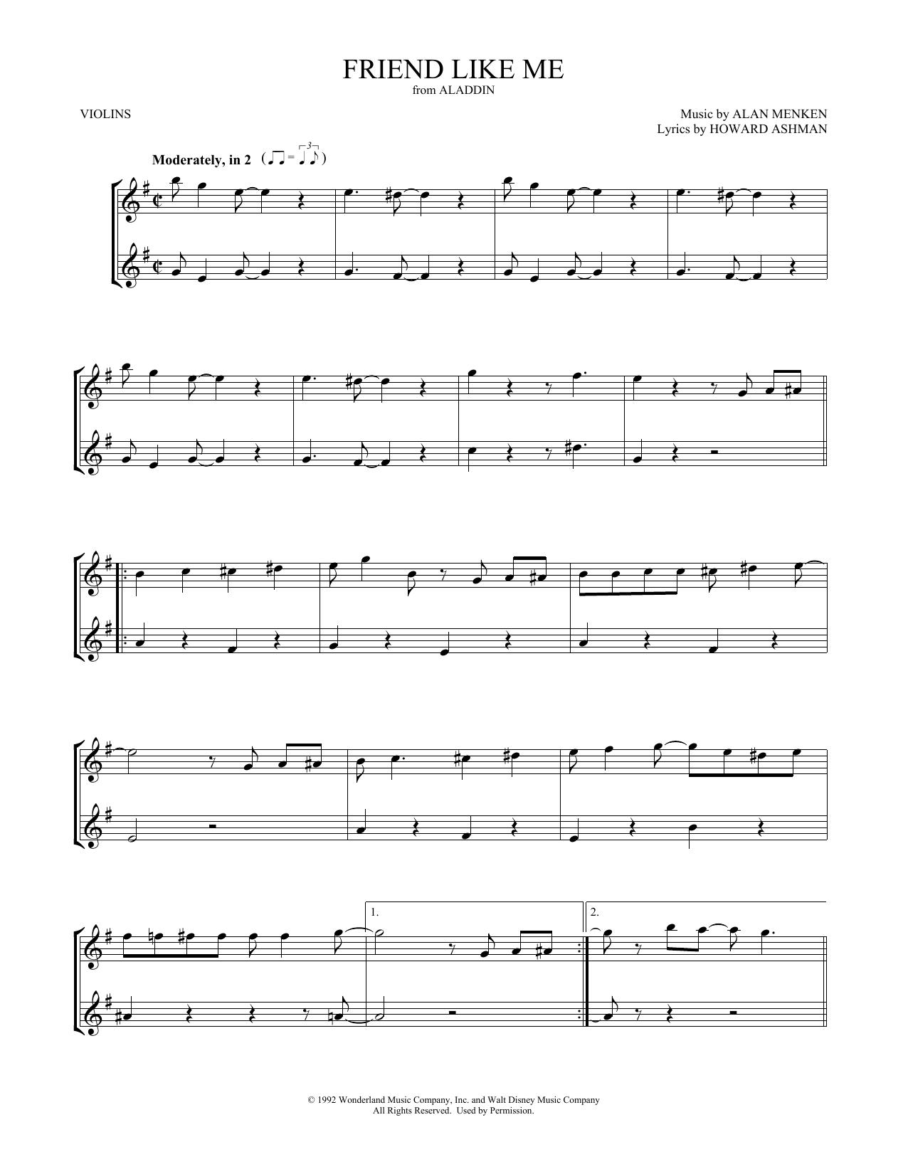Friend Like Me (from Aladdin) (Violin Duet)
