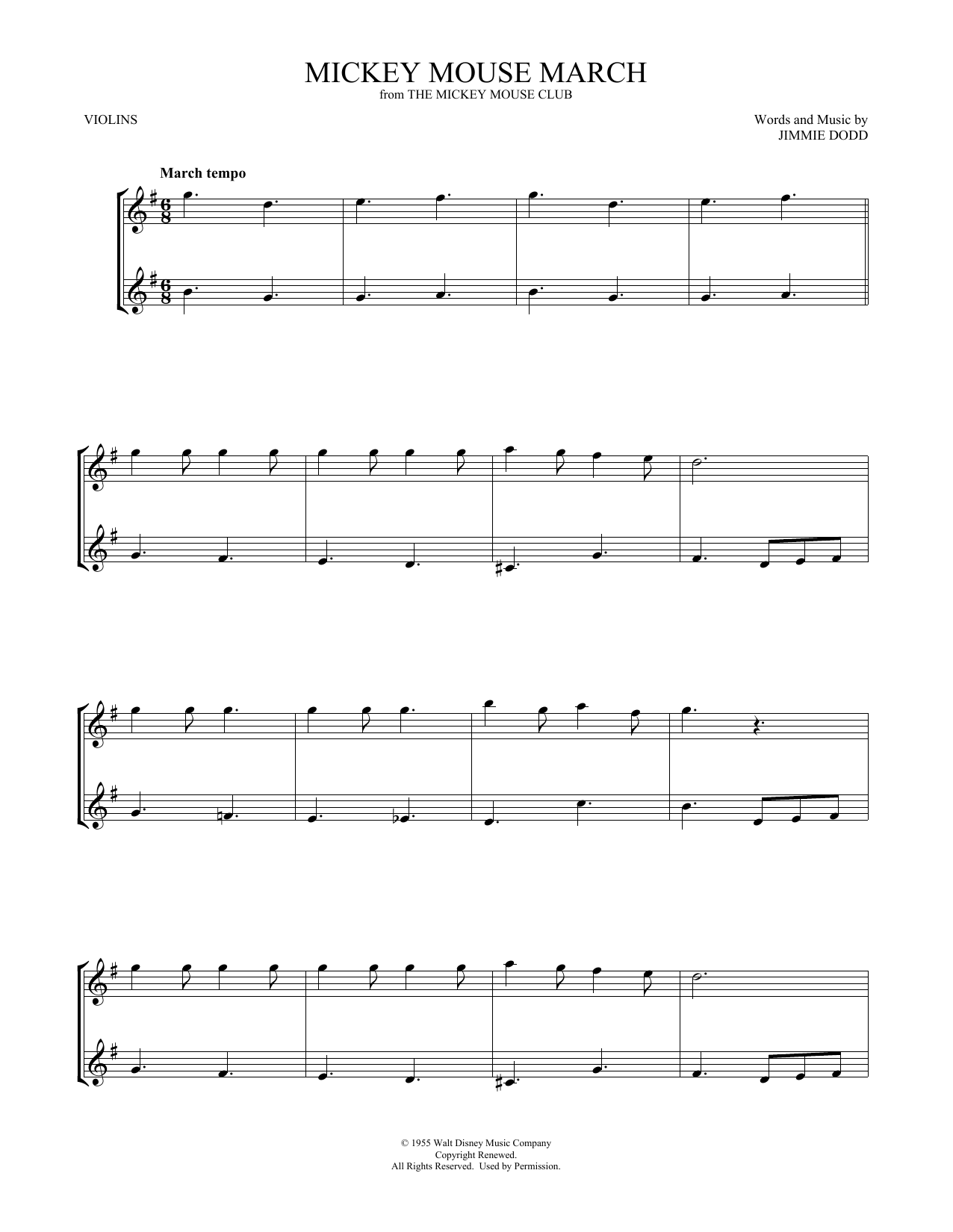 Mickey Mouse March (Violin Duet)