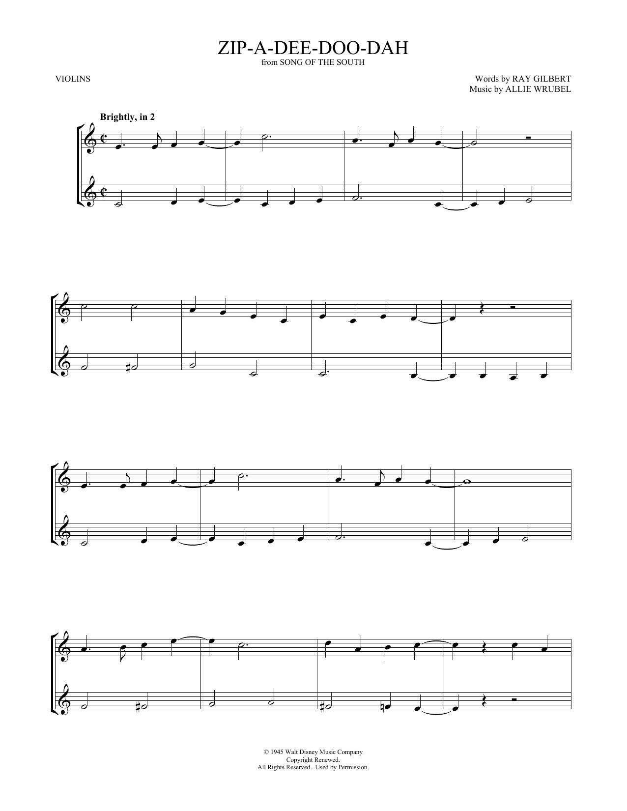 Zip-A-Dee-Doo-Dah (Violin Duet)