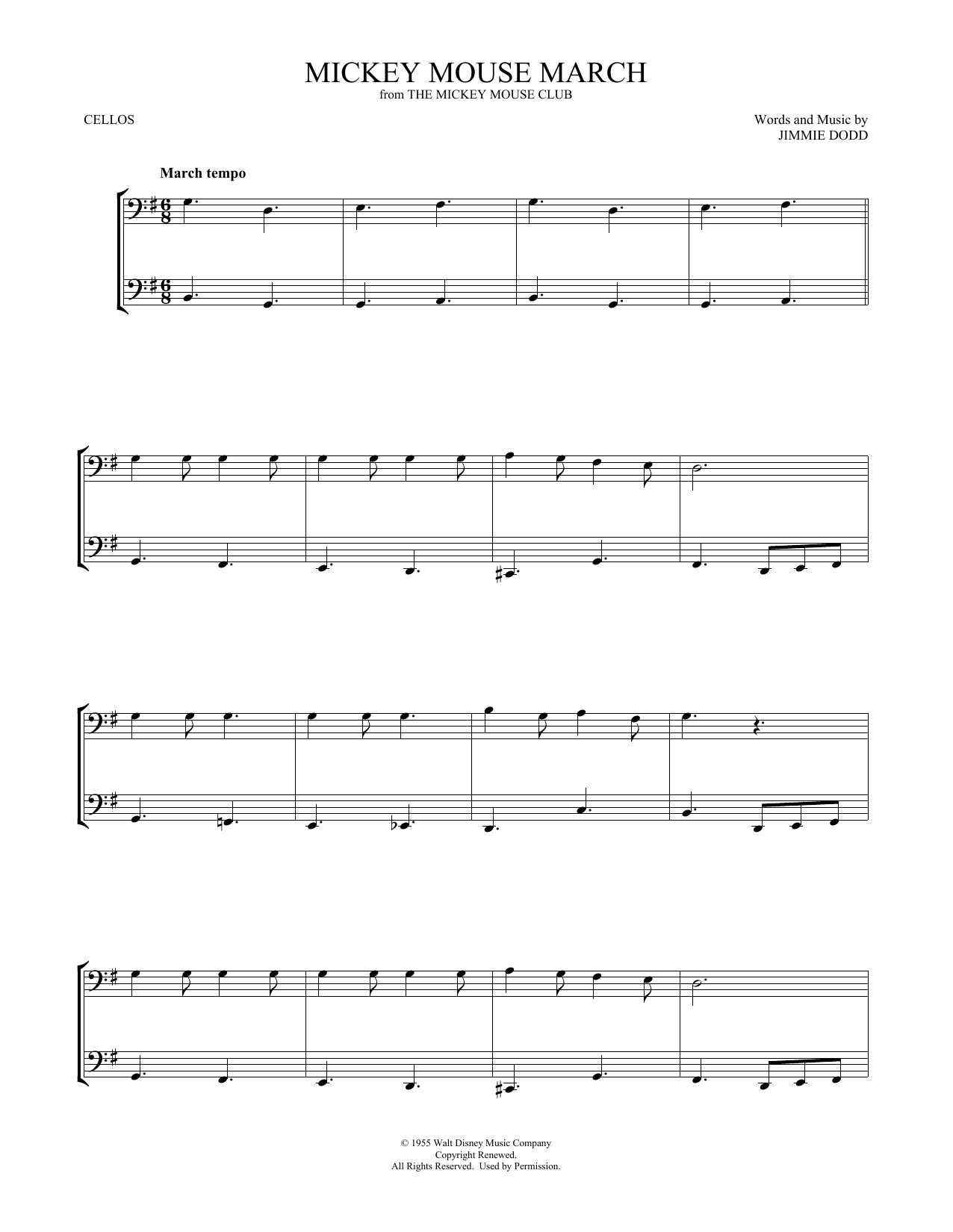 Mickey Mouse March (Cello Duet)