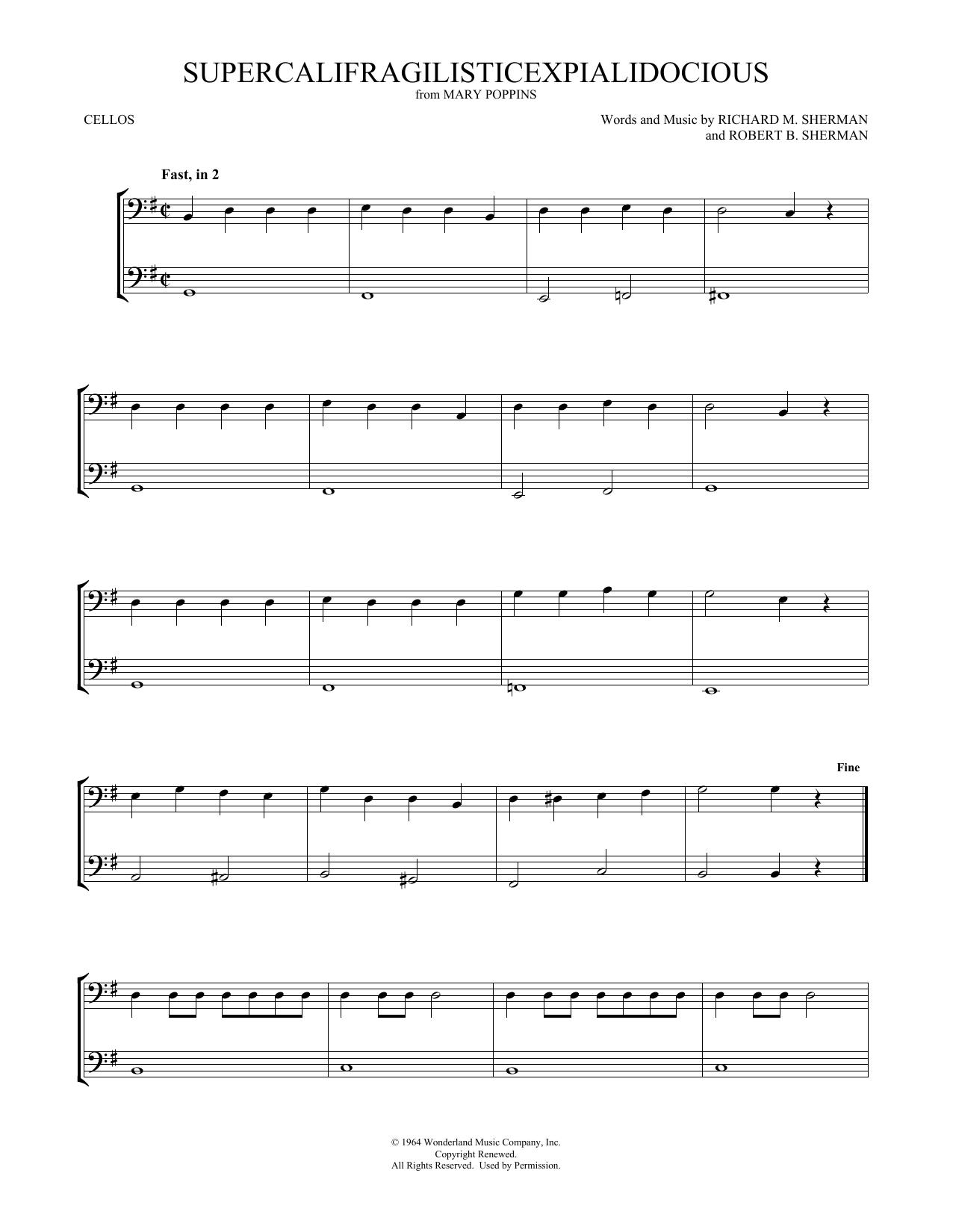Supercalifragilisticexpialidocious (from Mary Poppins) (arr. Mark Phillips) (Cello Duet)