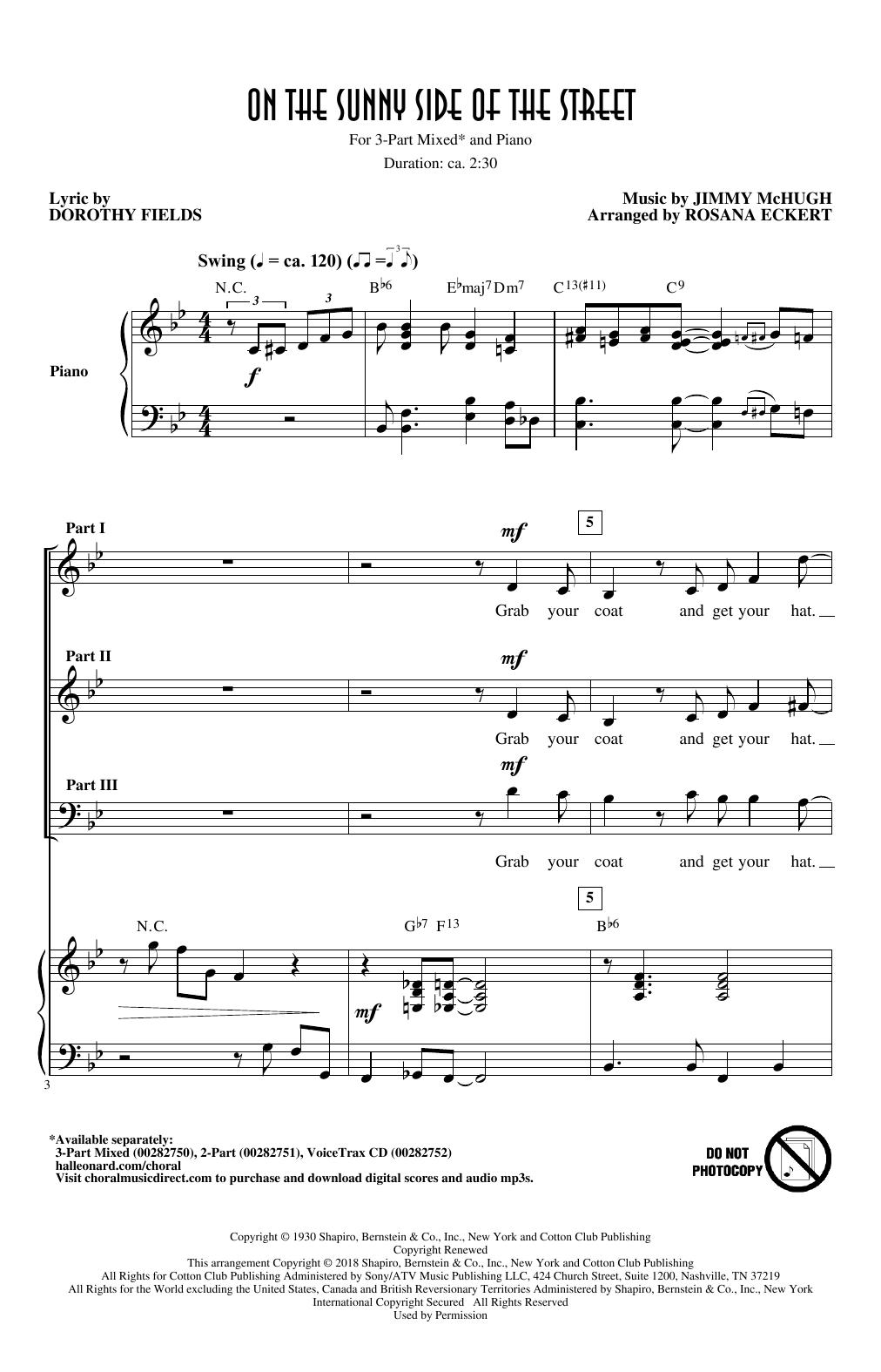 On The Sunny Side Of The Street (arr. Rosana Eckert) (3-Part Mixed Choir)