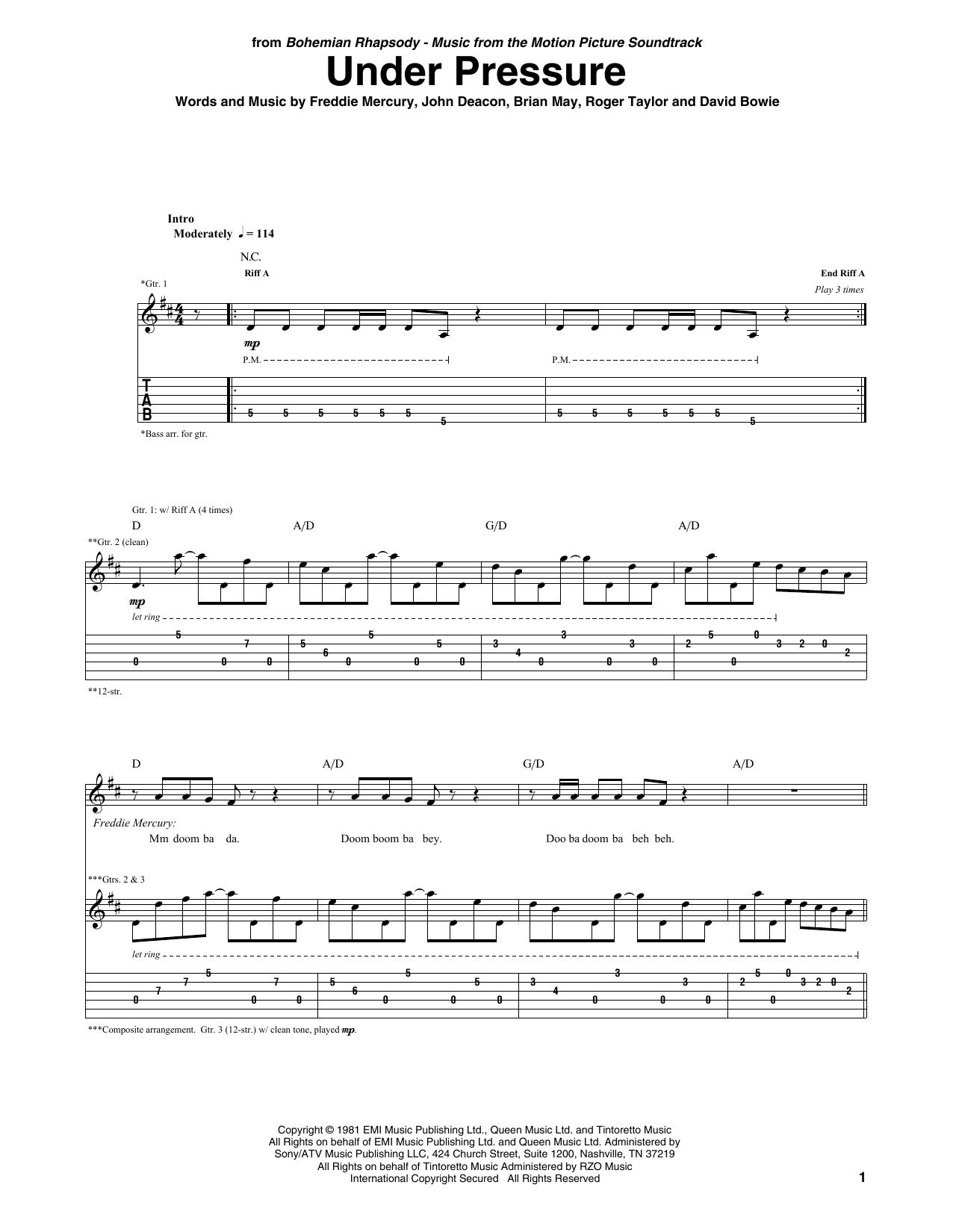 Under Pressure (Guitar Tab)