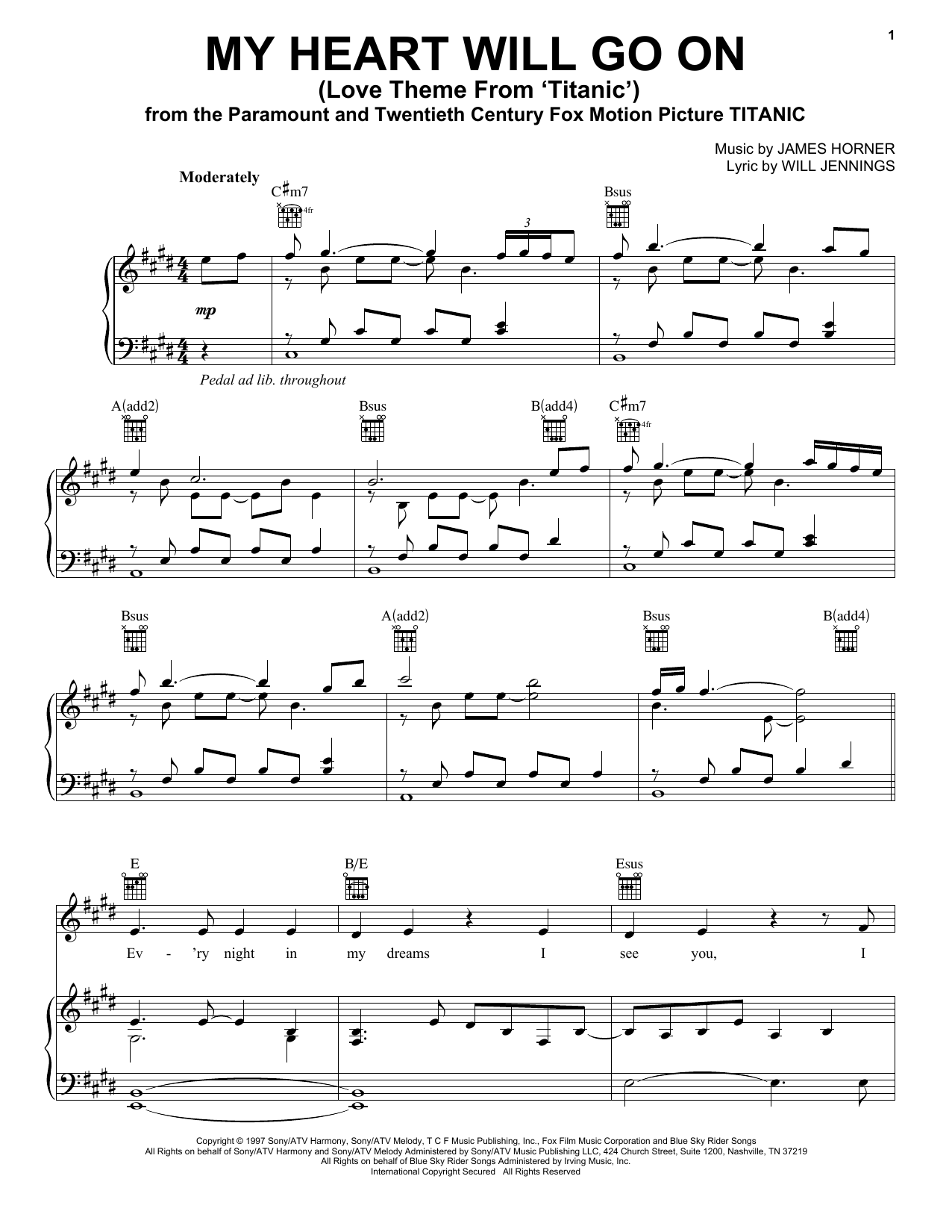 My Heart Will Go On (Love Theme From 'Titanic') (Vocal Pro + Piano/Guitar)