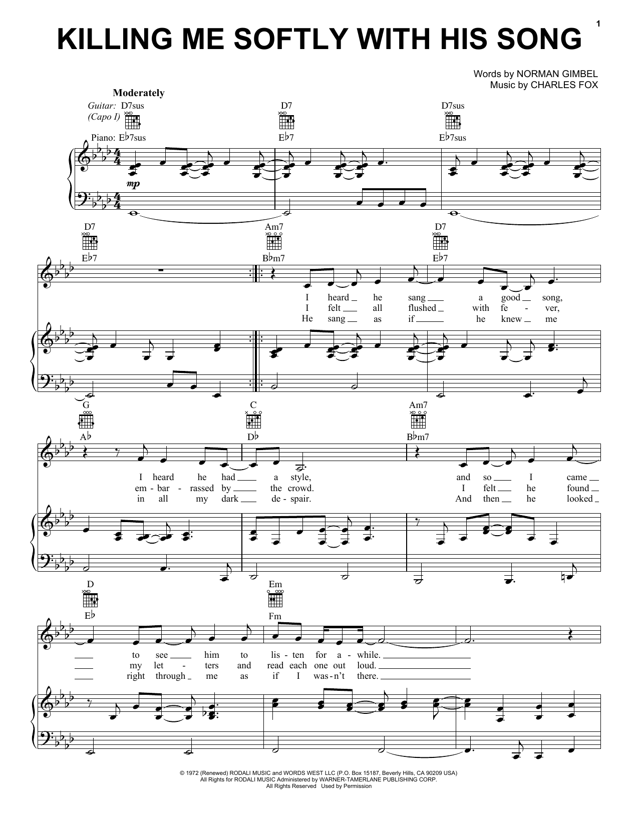 Killing Me Softly With His Song (Vocal Pro + Piano/Guitar)