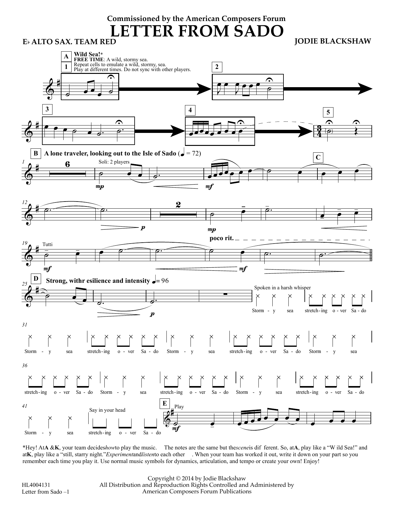 Letter From Sado Eb Alto Saxophone Team Red Sheet Music Jodie