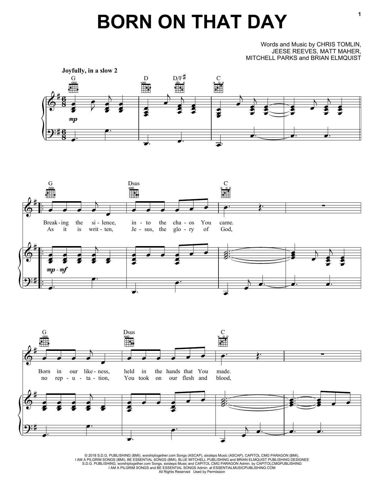 Born On That Day (Piano, Vocal & Guitar (Right-Hand Melody))