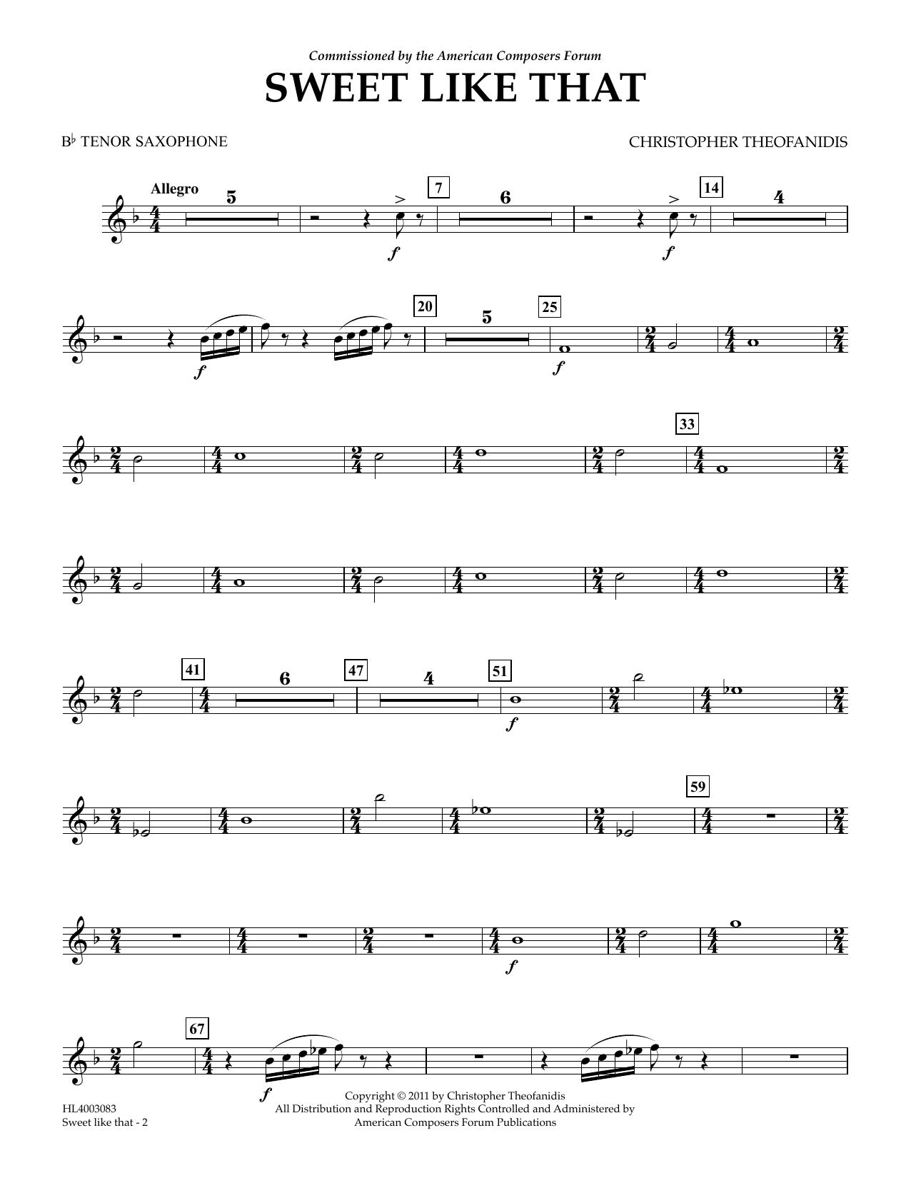 Sweet like that - Bb Tenor Sax Sheet Music