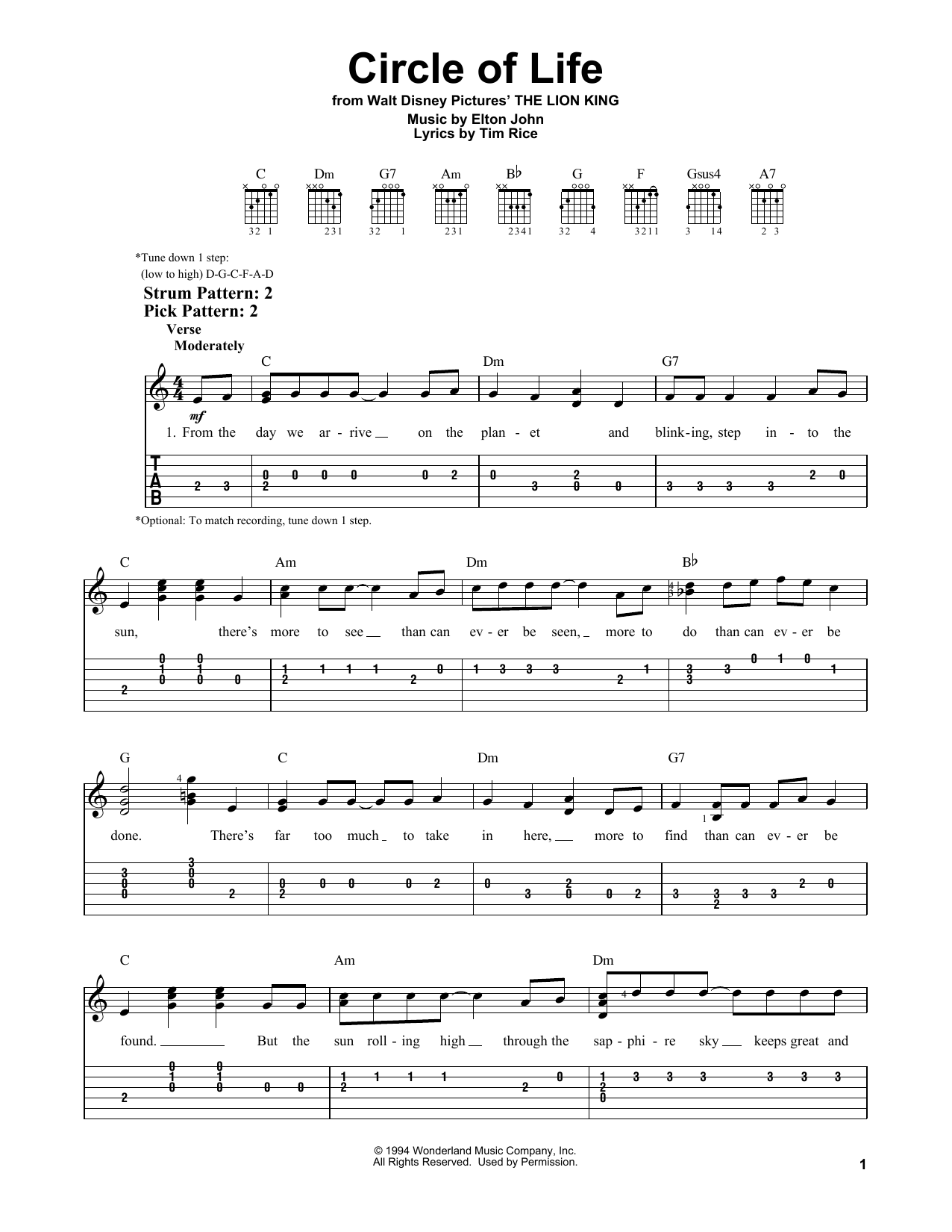 Circle Of Life (from The Lion King) (Easy Guitar Tab)