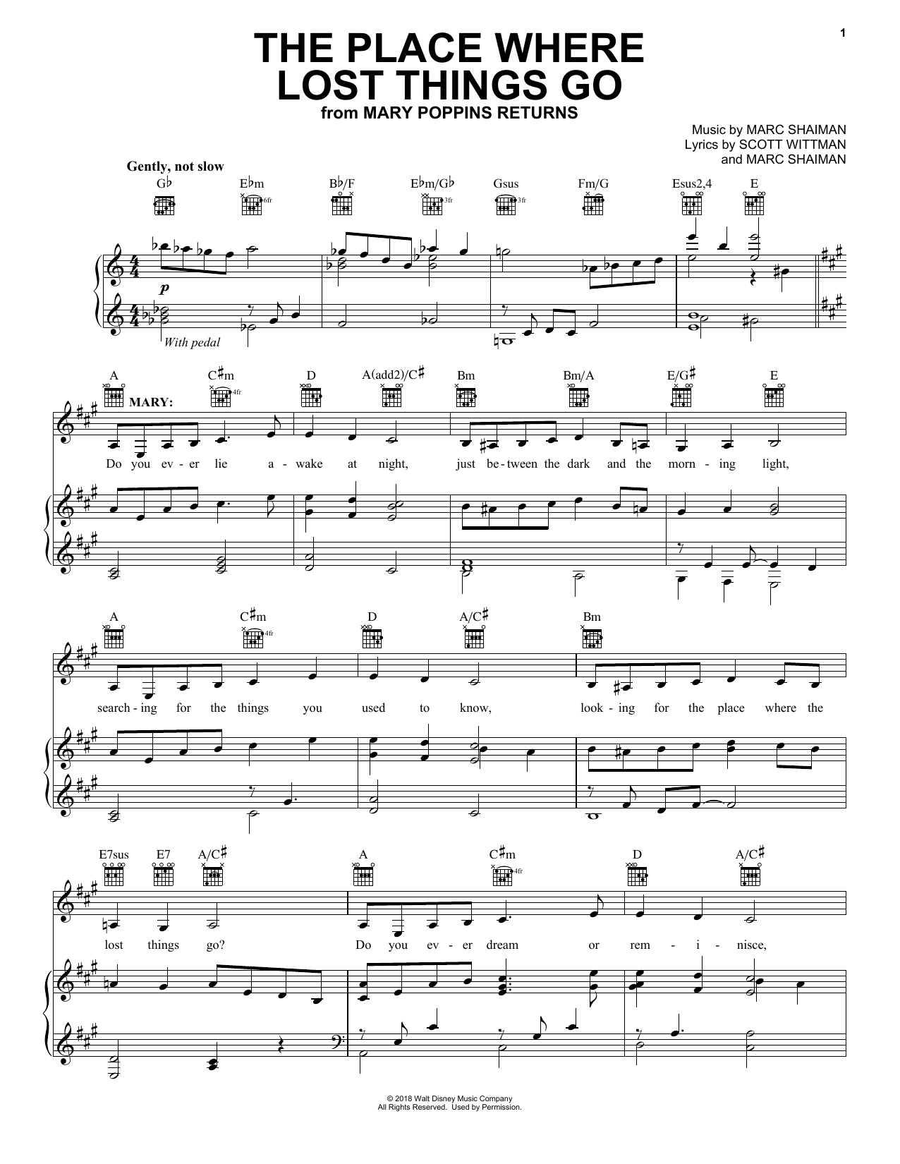 The Place Where Lost Things Go (from Mary Poppins Returns) (Piano, Vocal & Guitar (Right-Hand Melody))