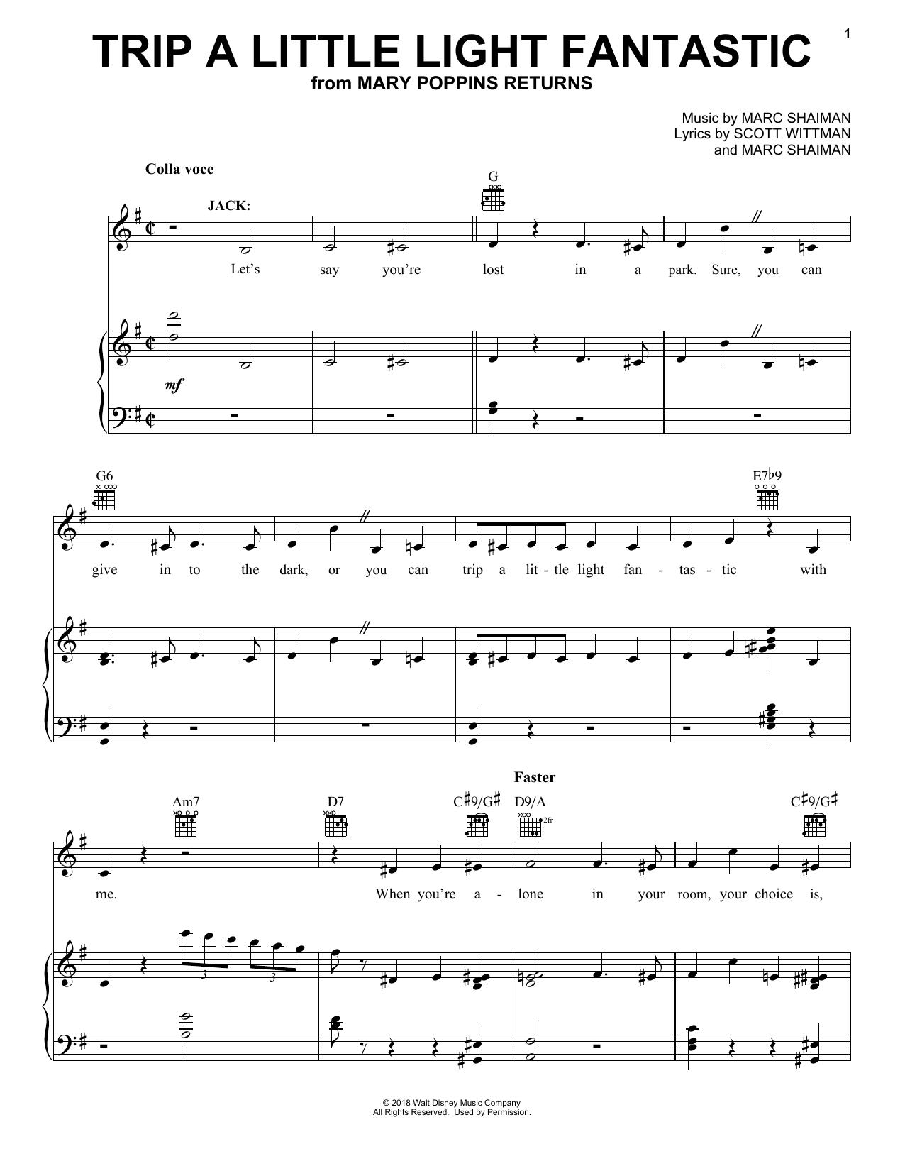 Trip A Little Light Fantastic (from Mary Poppins Returns) (Piano, Vocal & Guitar (Right-Hand Melody))