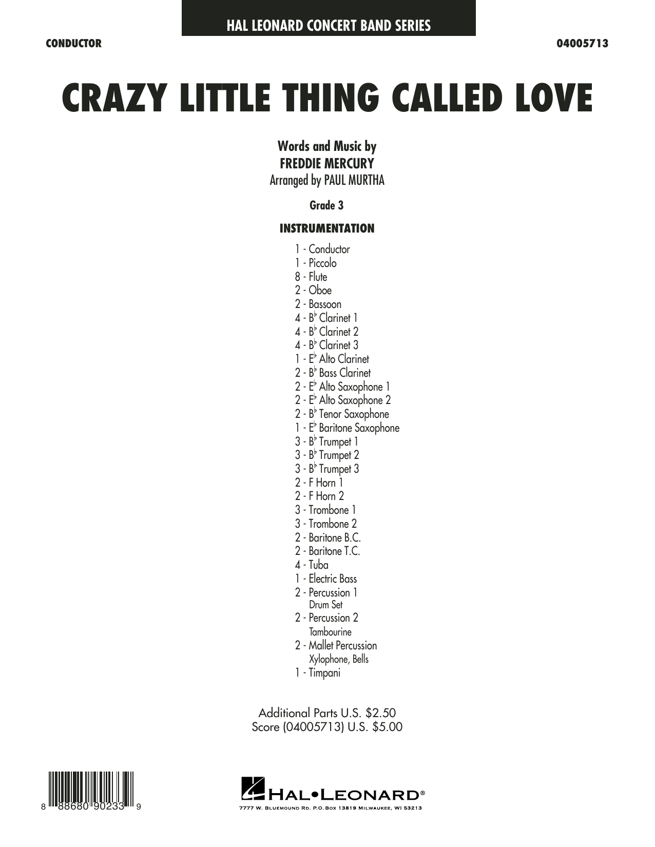 Crazy Little Thing Called Love (arr. Paul Murtha) - Conductor Score (Full Score) (Concert Band)