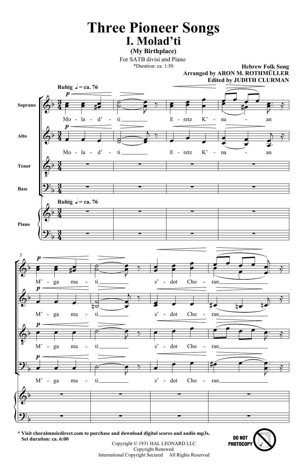 Three Pioneer Songs (SATB Choir)